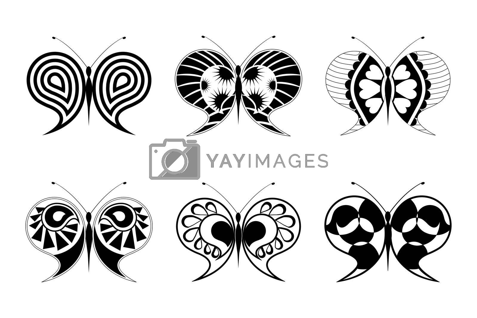 illustration of floral butterfly on white background