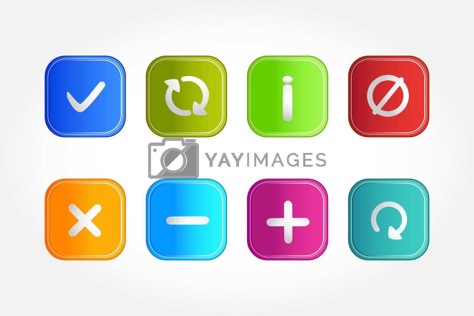illustration of symbolic buttons on white background