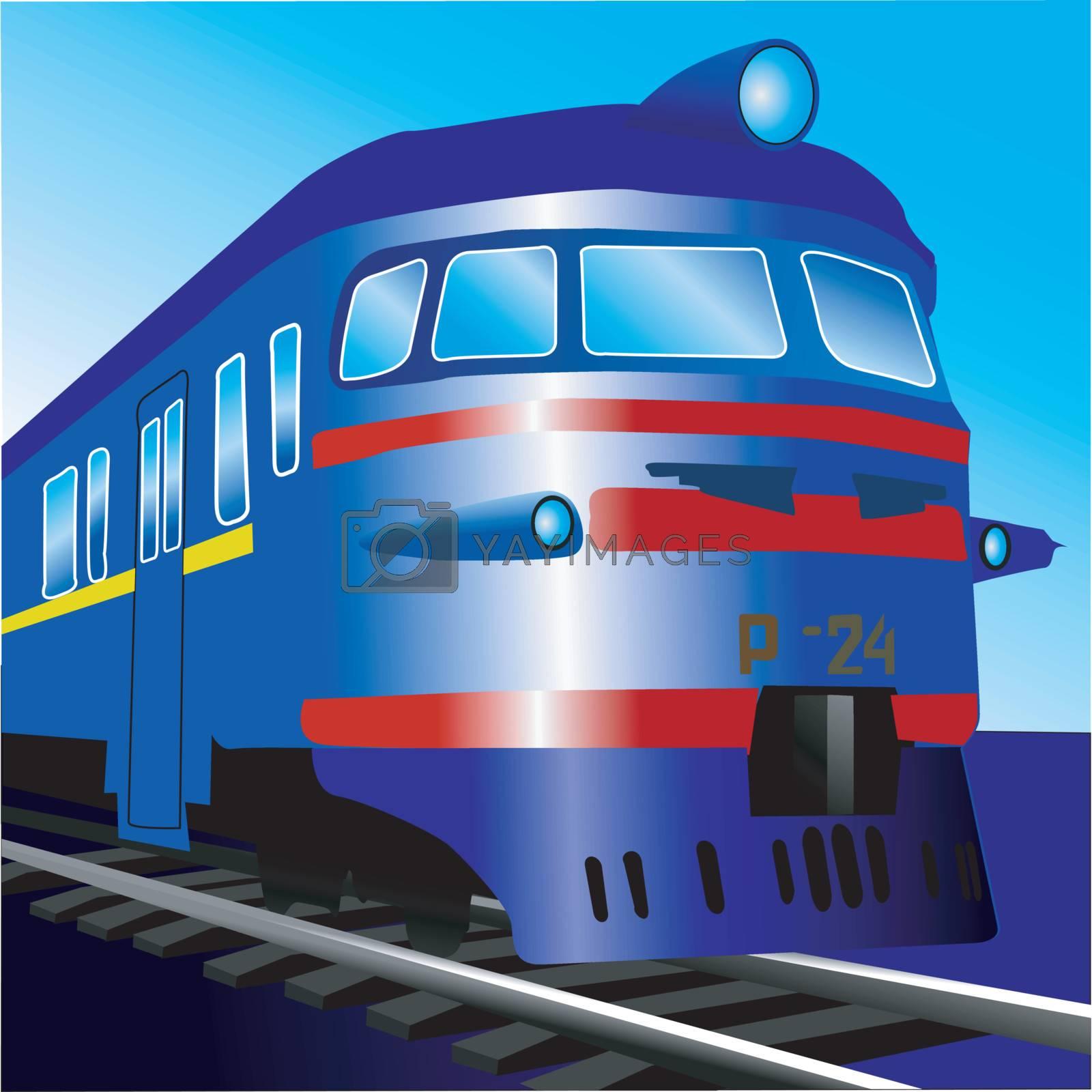 Illustration of vintage electric train on rails