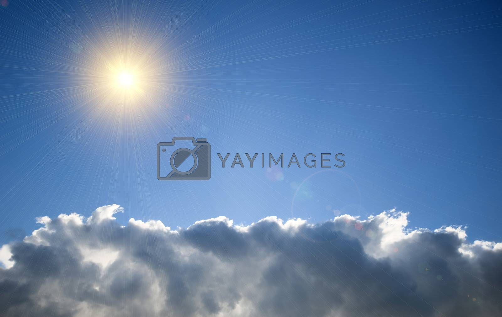 cloudy sky with sunlight effect