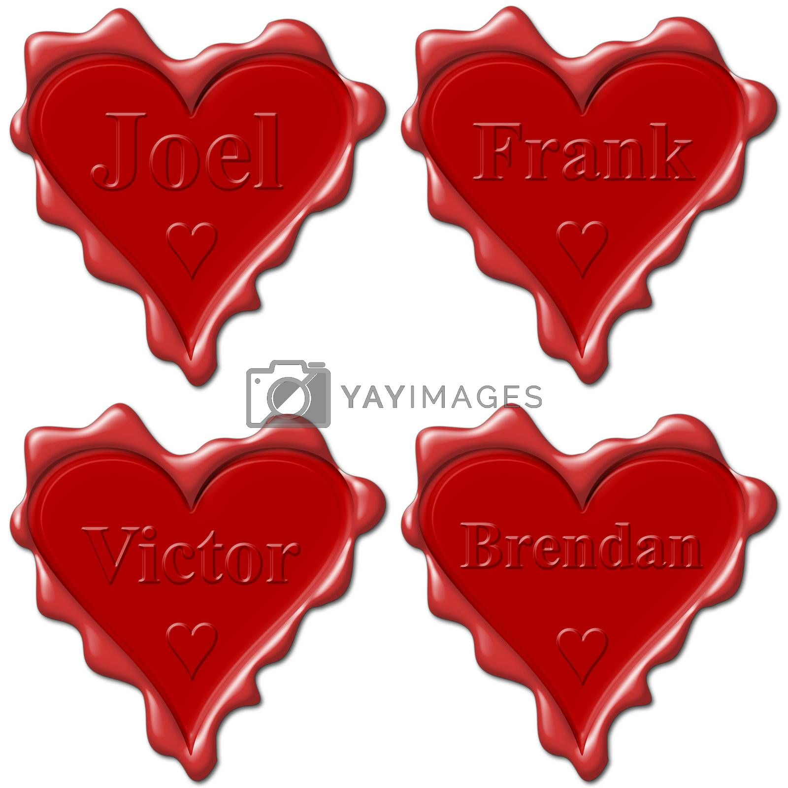 Valentine love hearts with names: Joel, Frank, Victor, Brendan