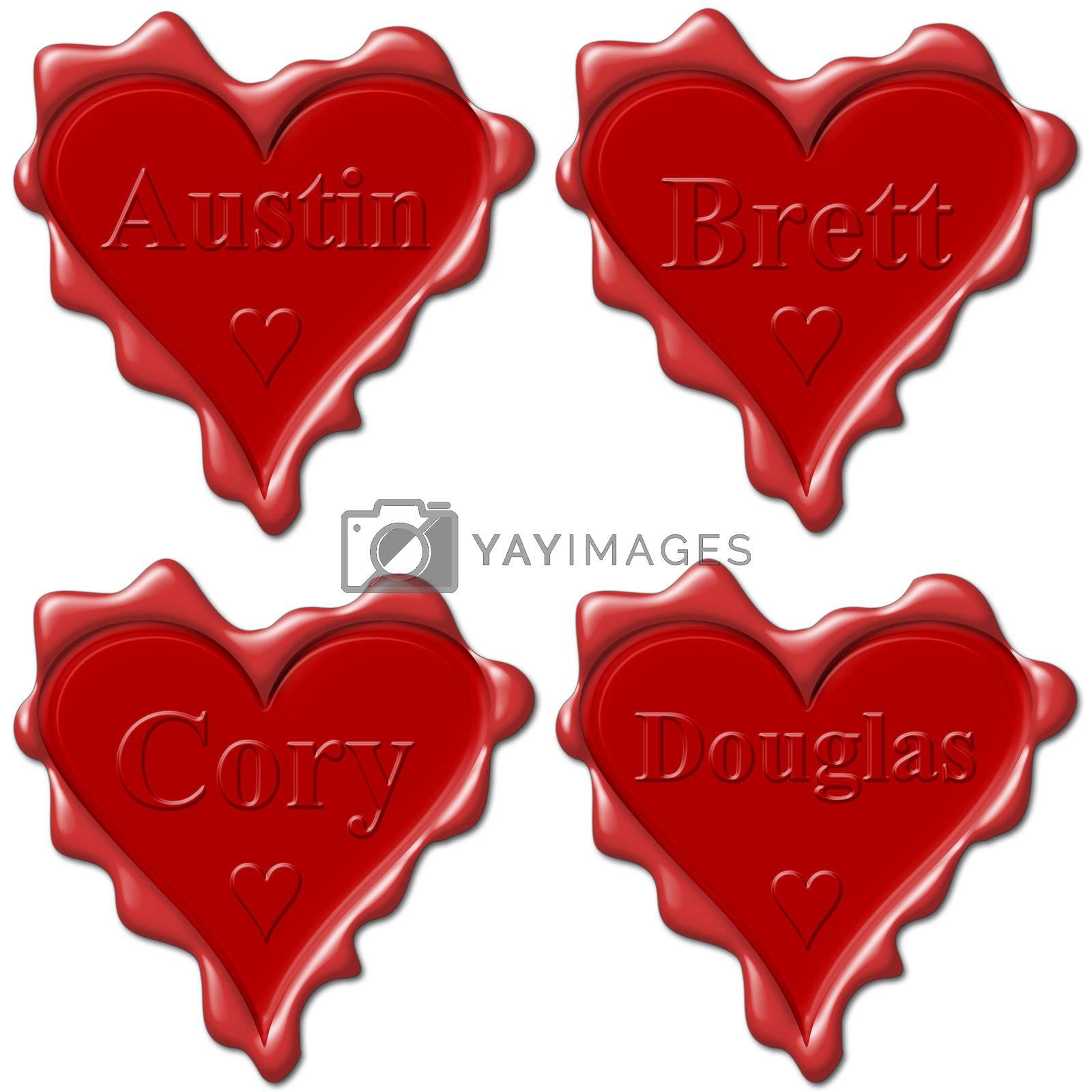 Valentine love hearts with names: Austin, Brett, Cory, Douglas