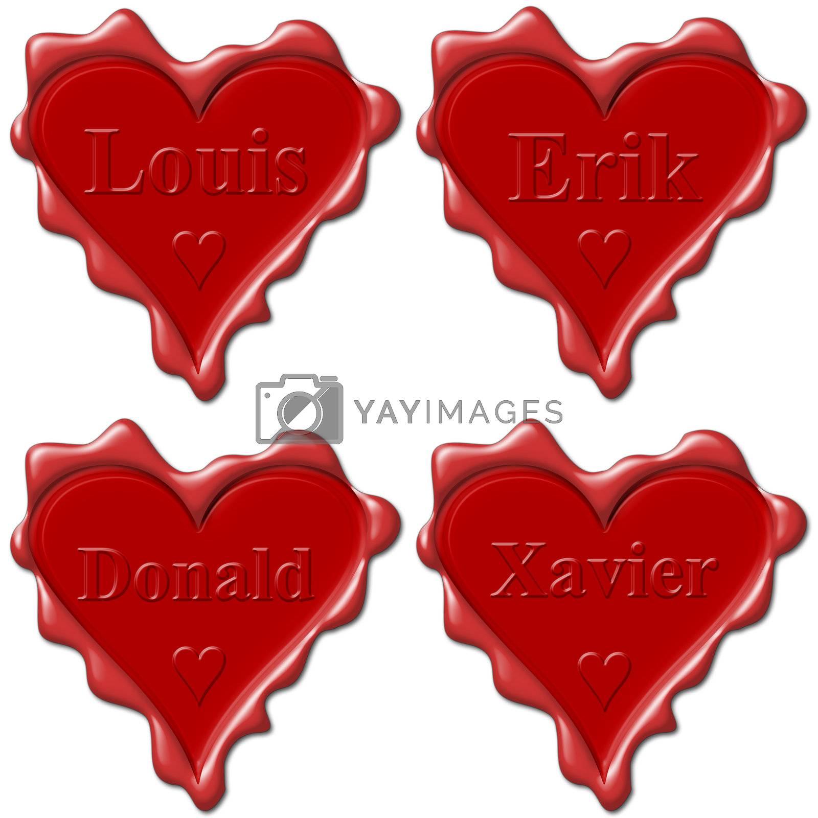 Valentine love hearts with names: Louis, Erik, Donald, Xavier