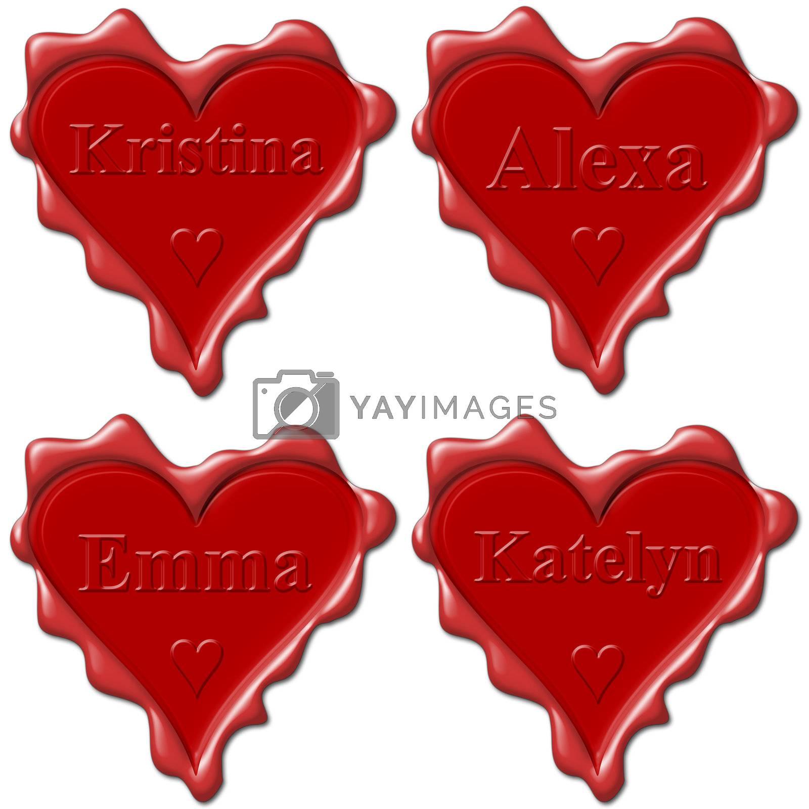 Valentine love hearts with names: Kristina, Alexa, Emma, Katelyn