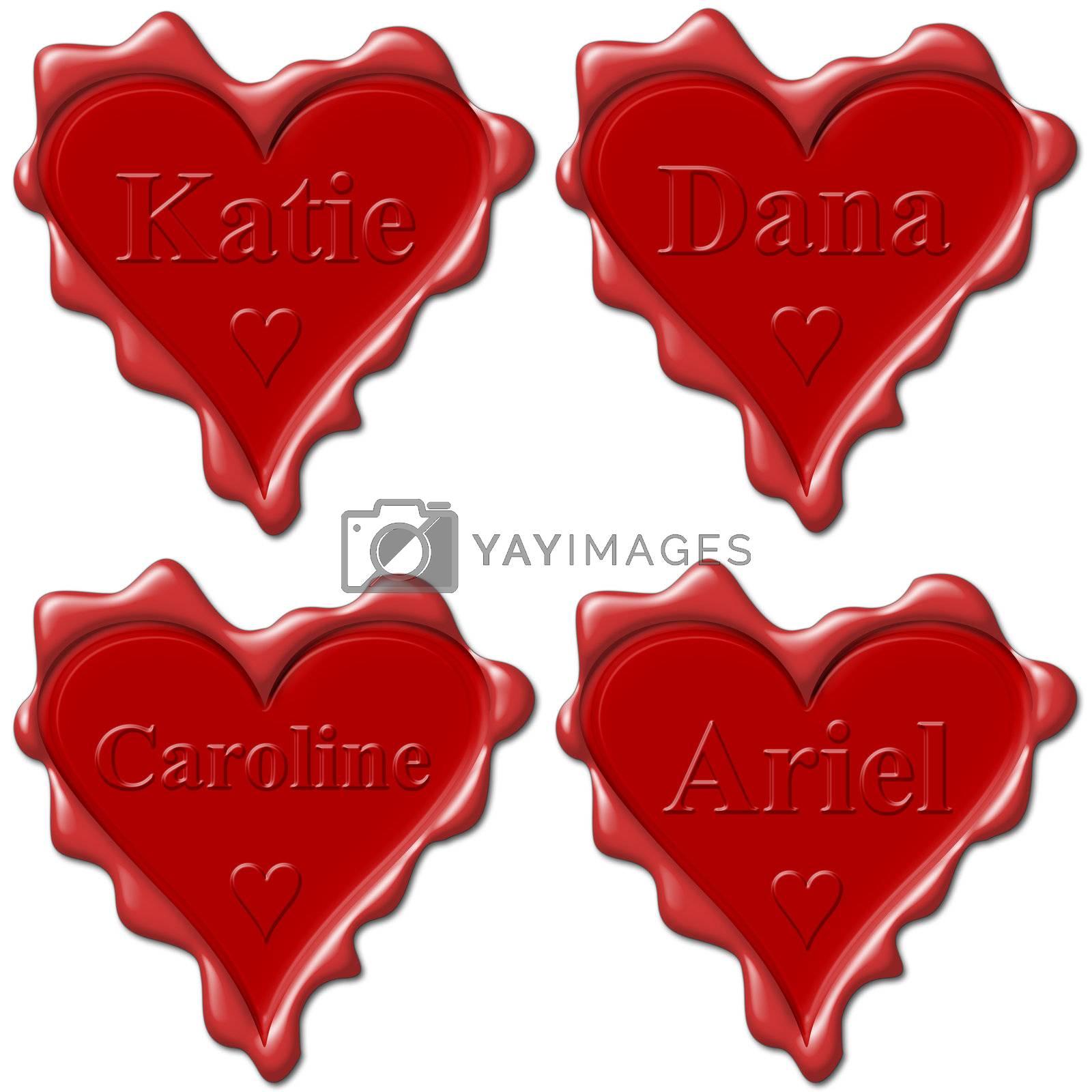 Valentine love hearts with names: Katie, Dana, Caroline, Ariel
