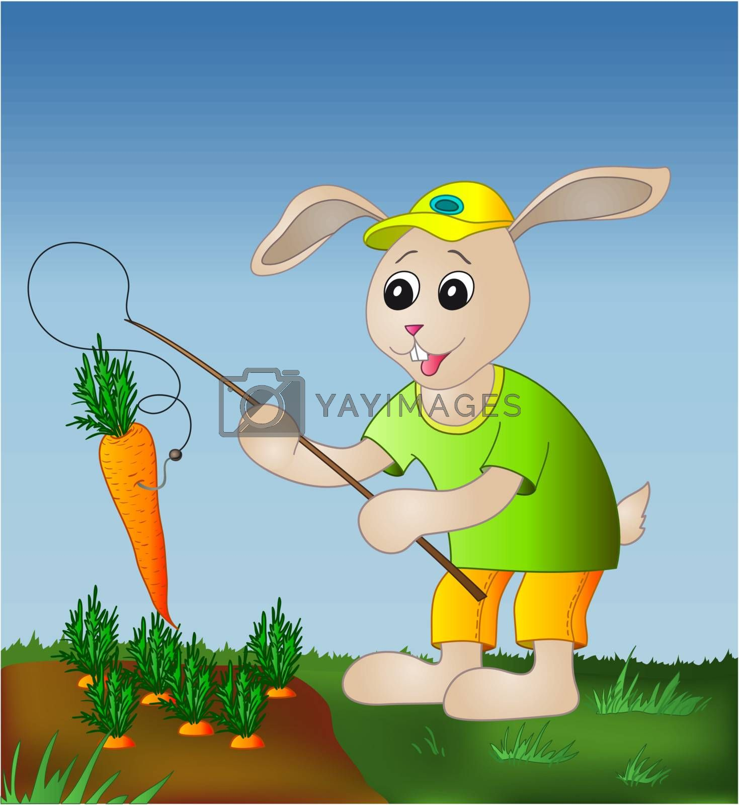 Rabbit fishing carrot by alexcoolok