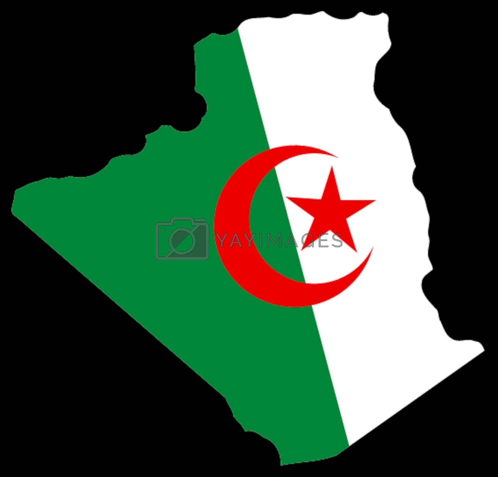 Illustration of flag in map of Algeria