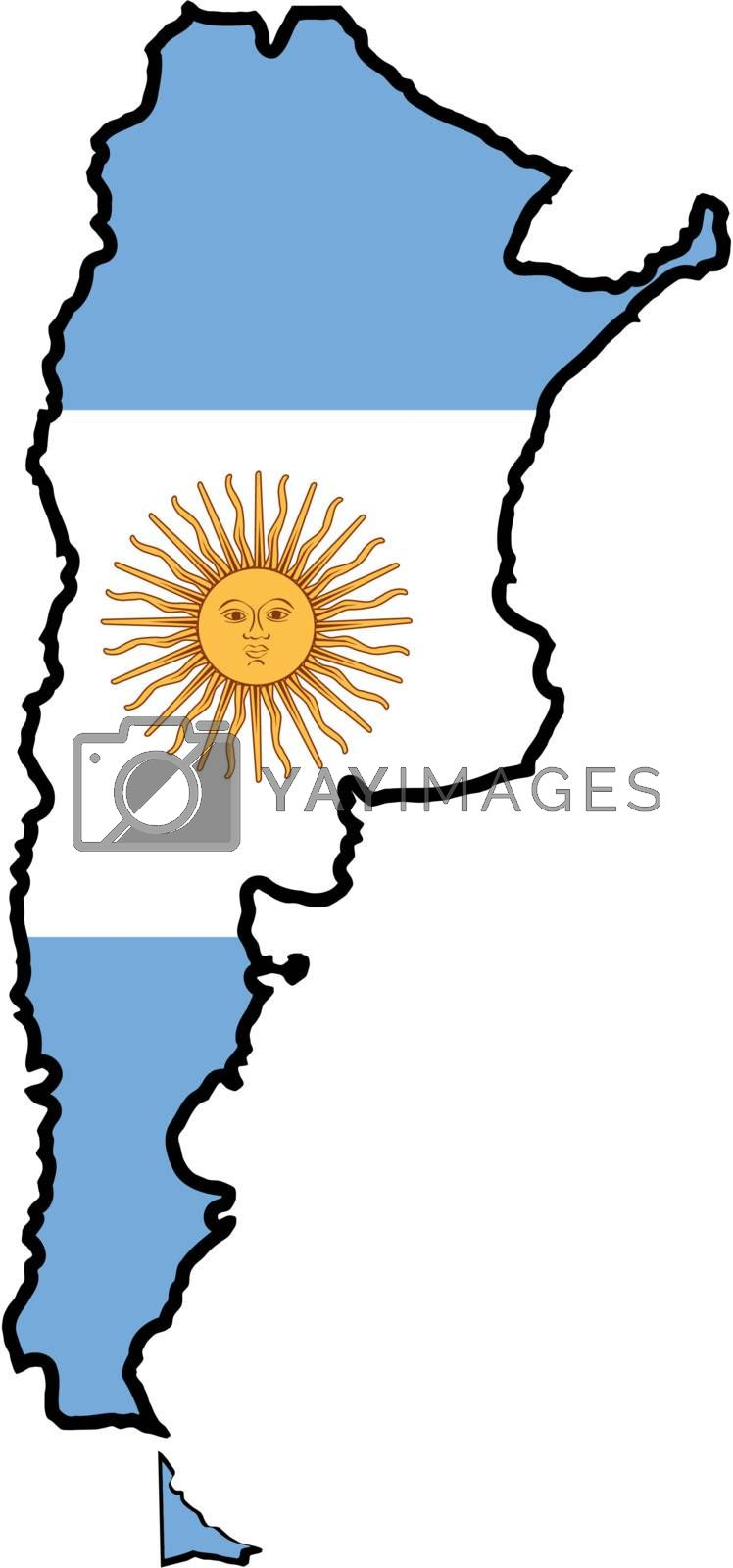 Illustration of flag in map of Argentina