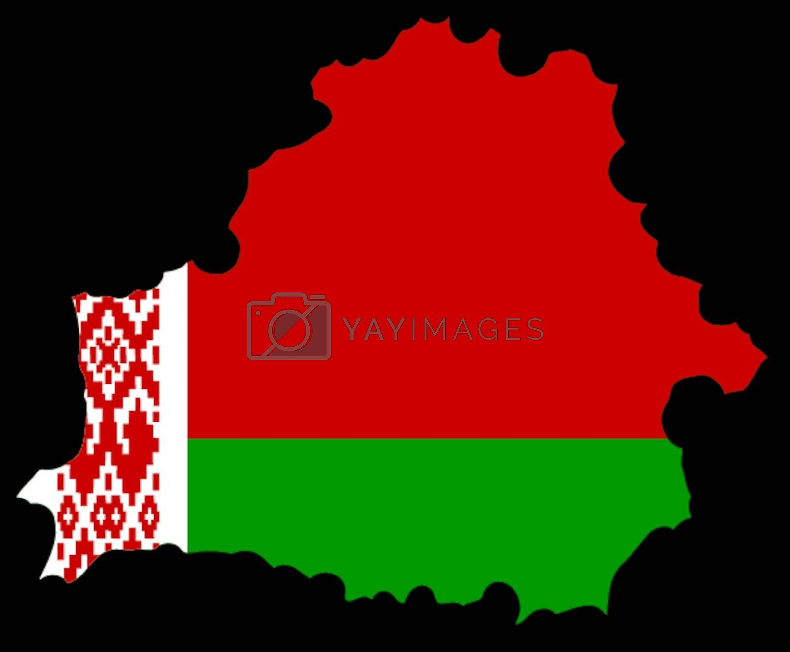 Illustration of flag in map of Belarus