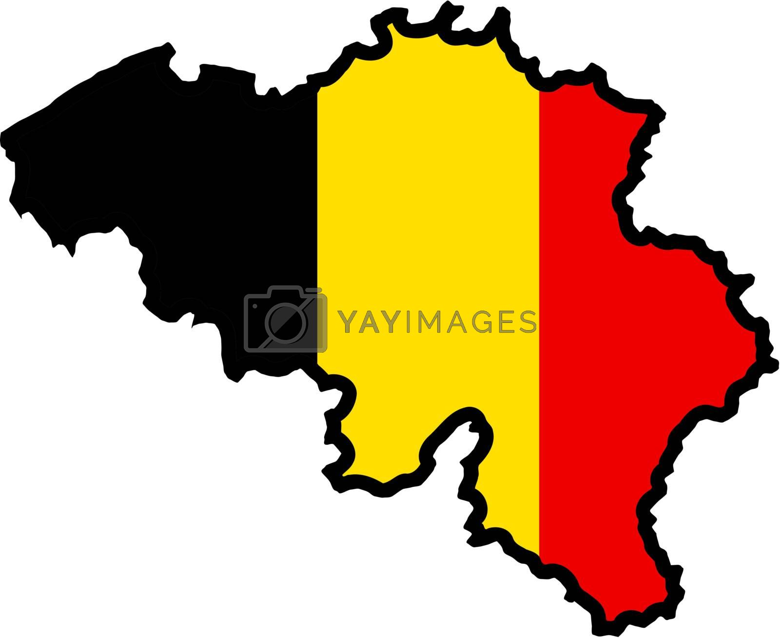 Illustration of flag in map of Belgium