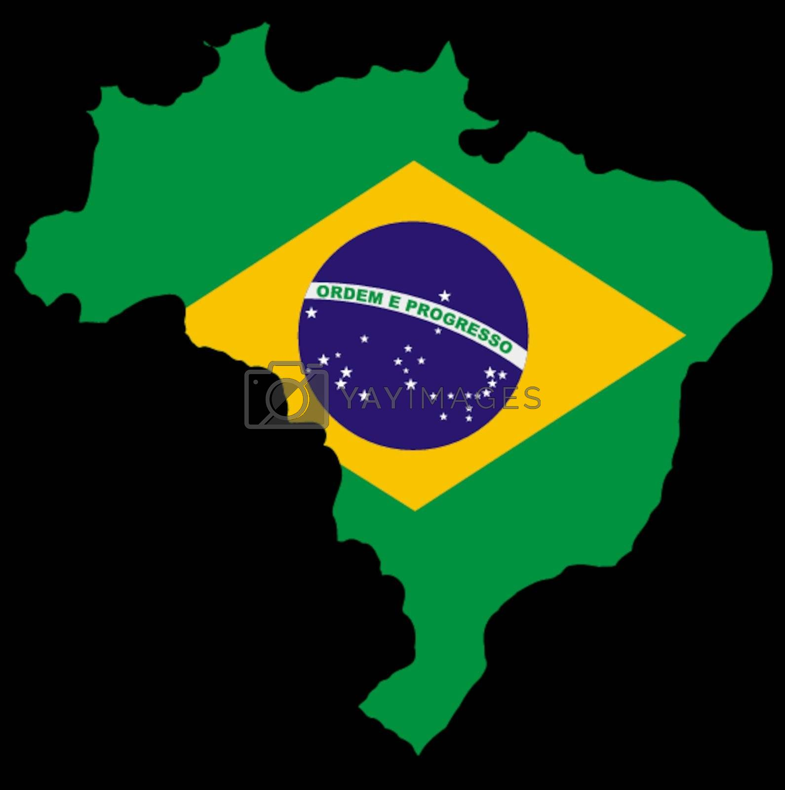 Illustration of flag in map of Brazil