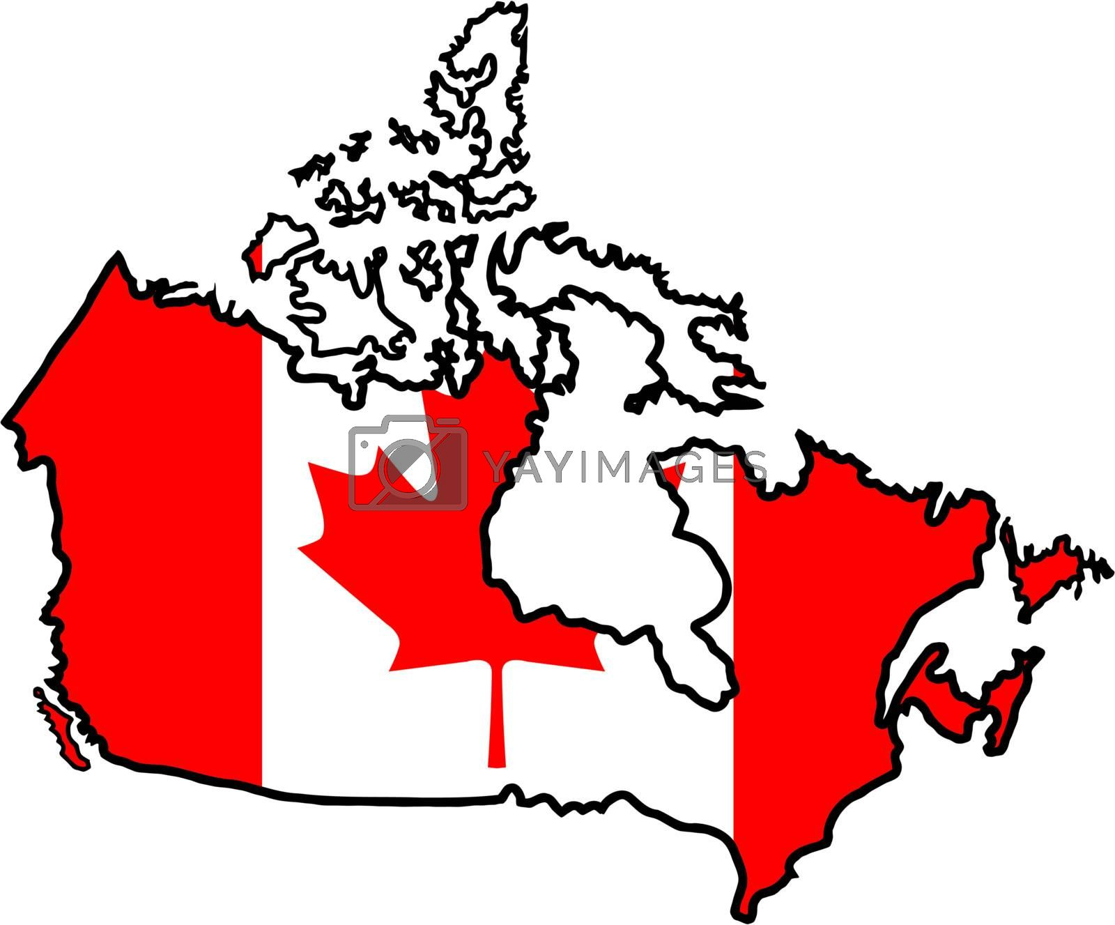 Illustration of flag in map of Canada