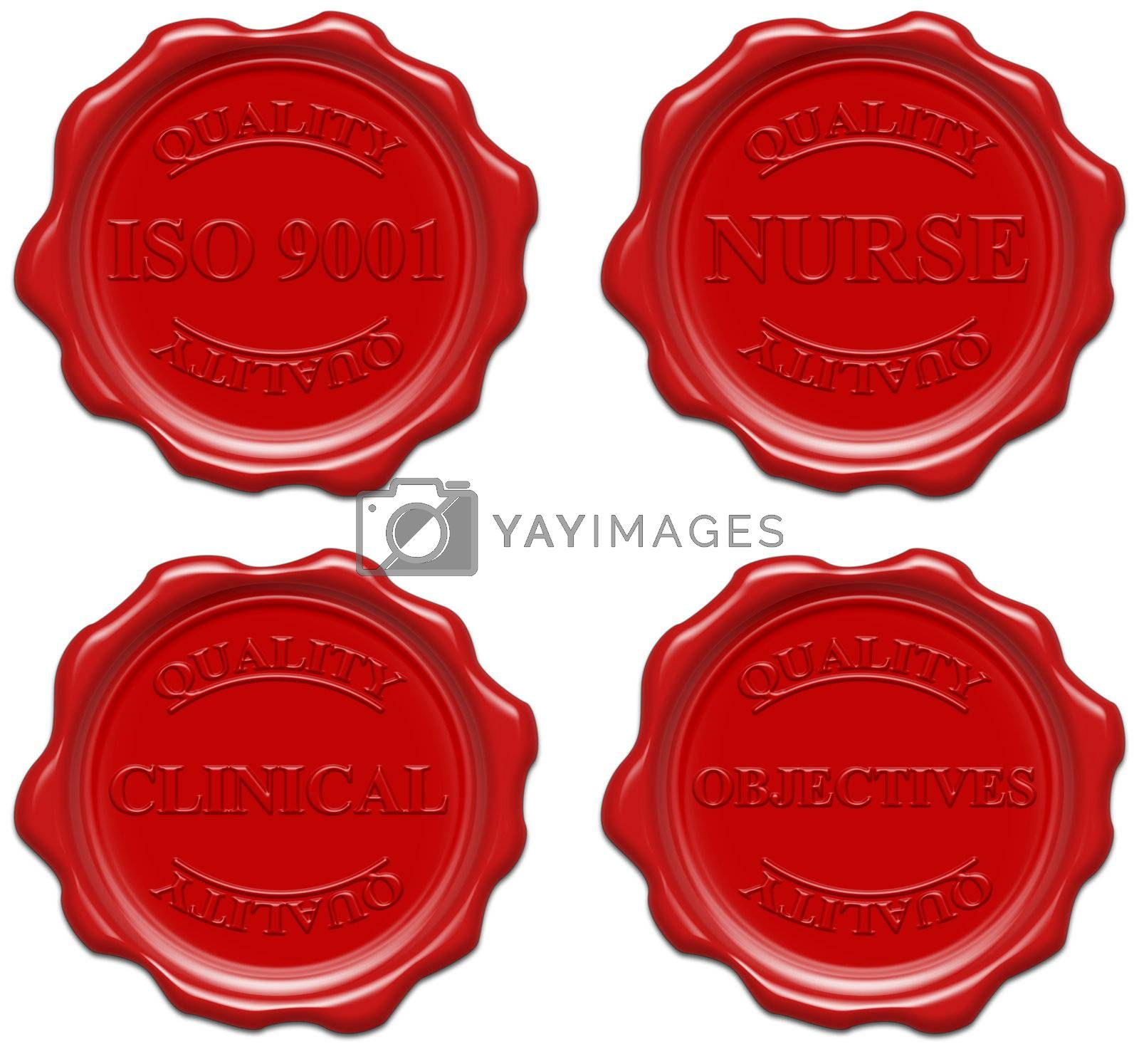 High resolution realistic red wax seal with text : quality, iso 9001, nurse, clinical, objectives