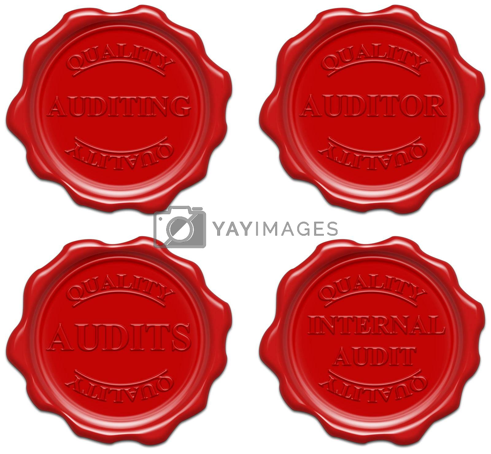 High resolution realistic red wax seal with text : quality, auditing, auditor, audits, internal audit