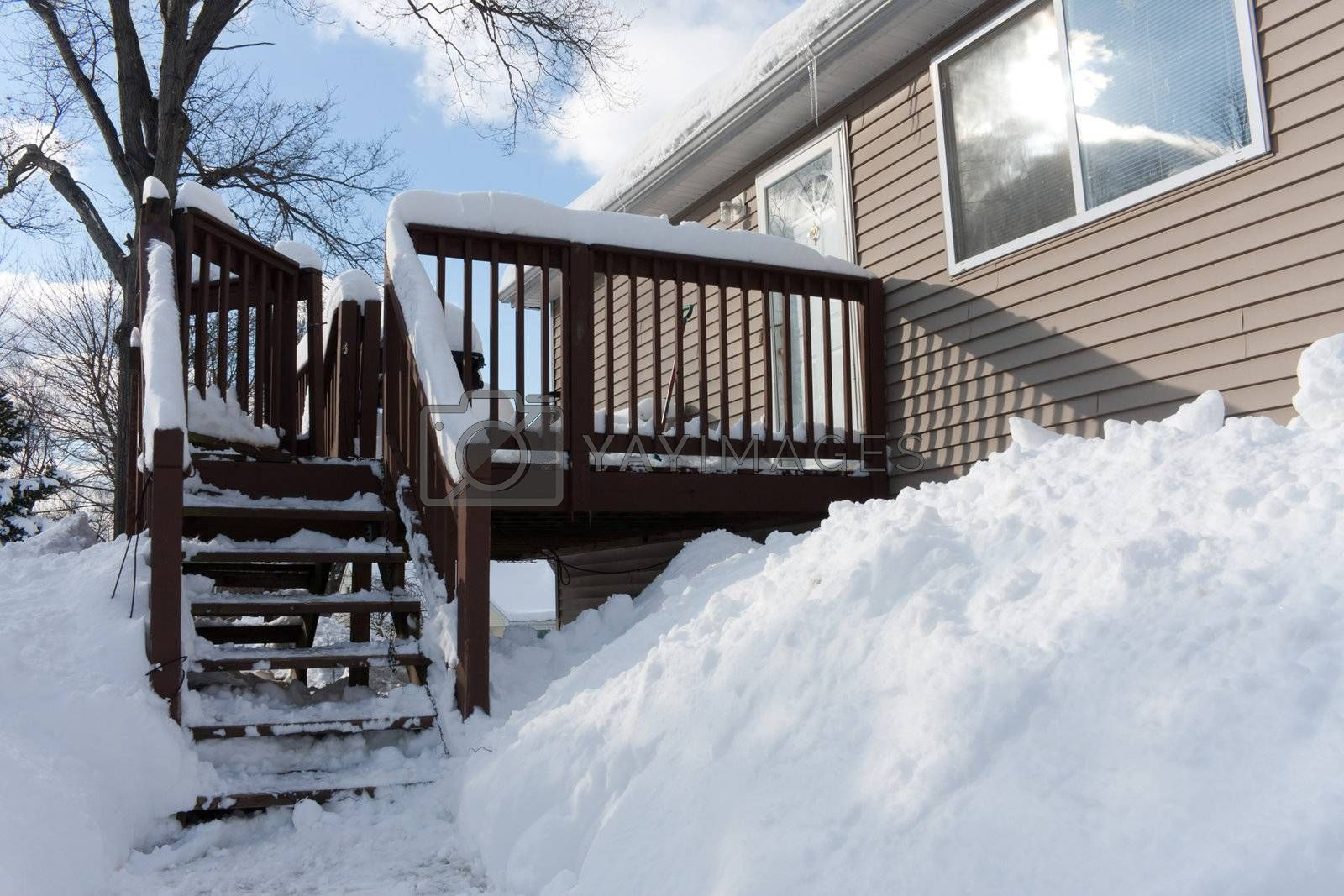 An abundance of snow with huge piles and drifts from a series of New England winter blizzards in the US.