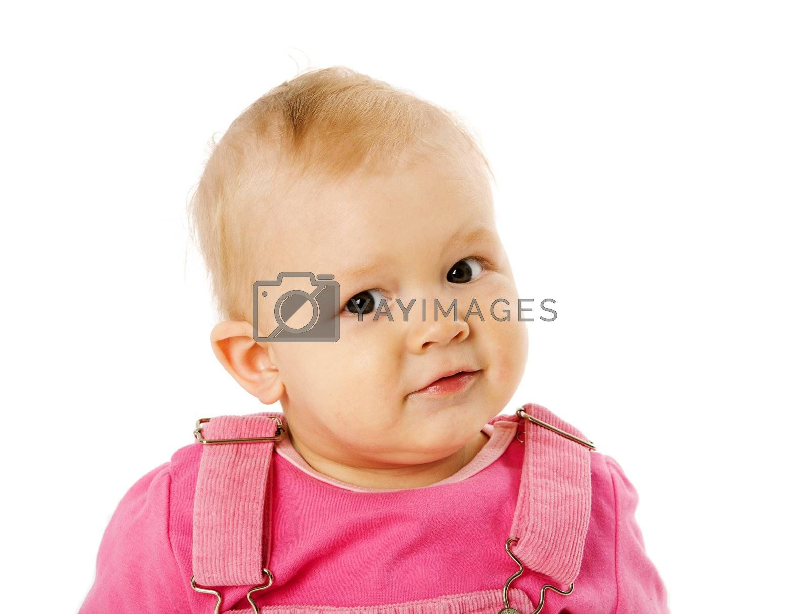 Happy Toddler girl portrait isolated on white