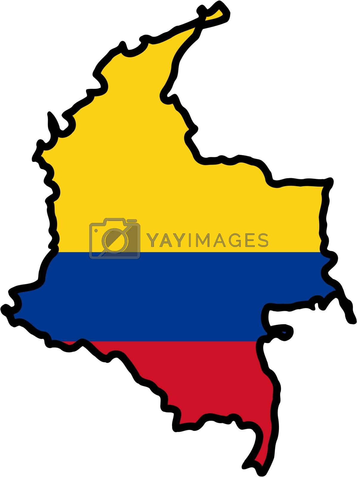 Illustration of flag in map of Colombia