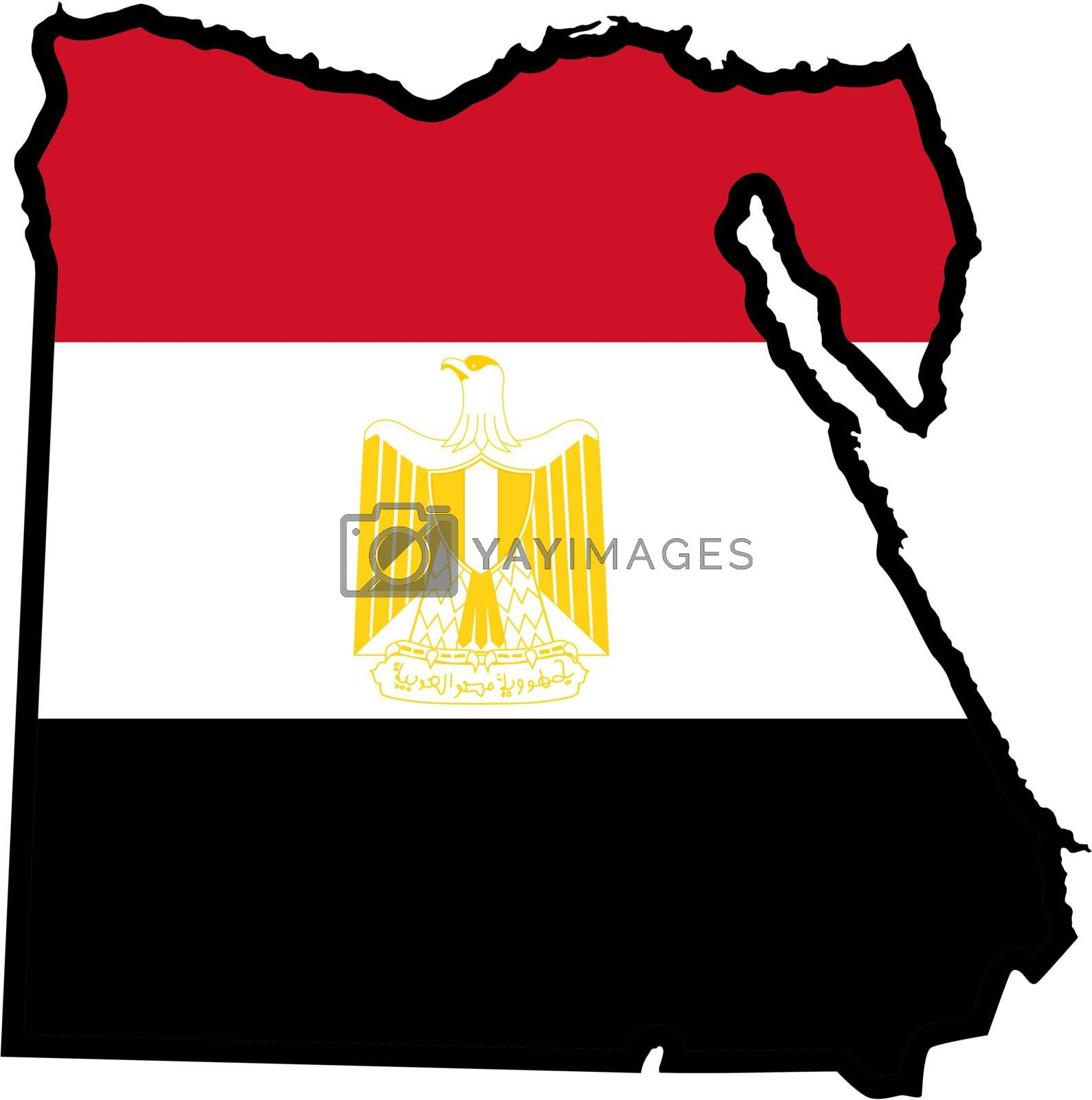 Illustration of flag in map of Egypt