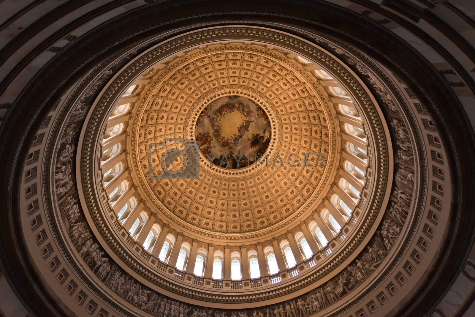 The dome inside of US Capitol in Washington DC