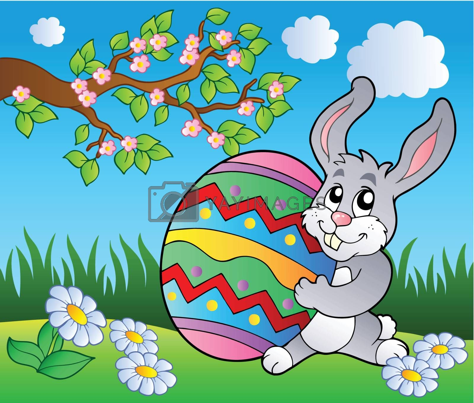 Spring meadow with bunny and egg - vector illustration.
