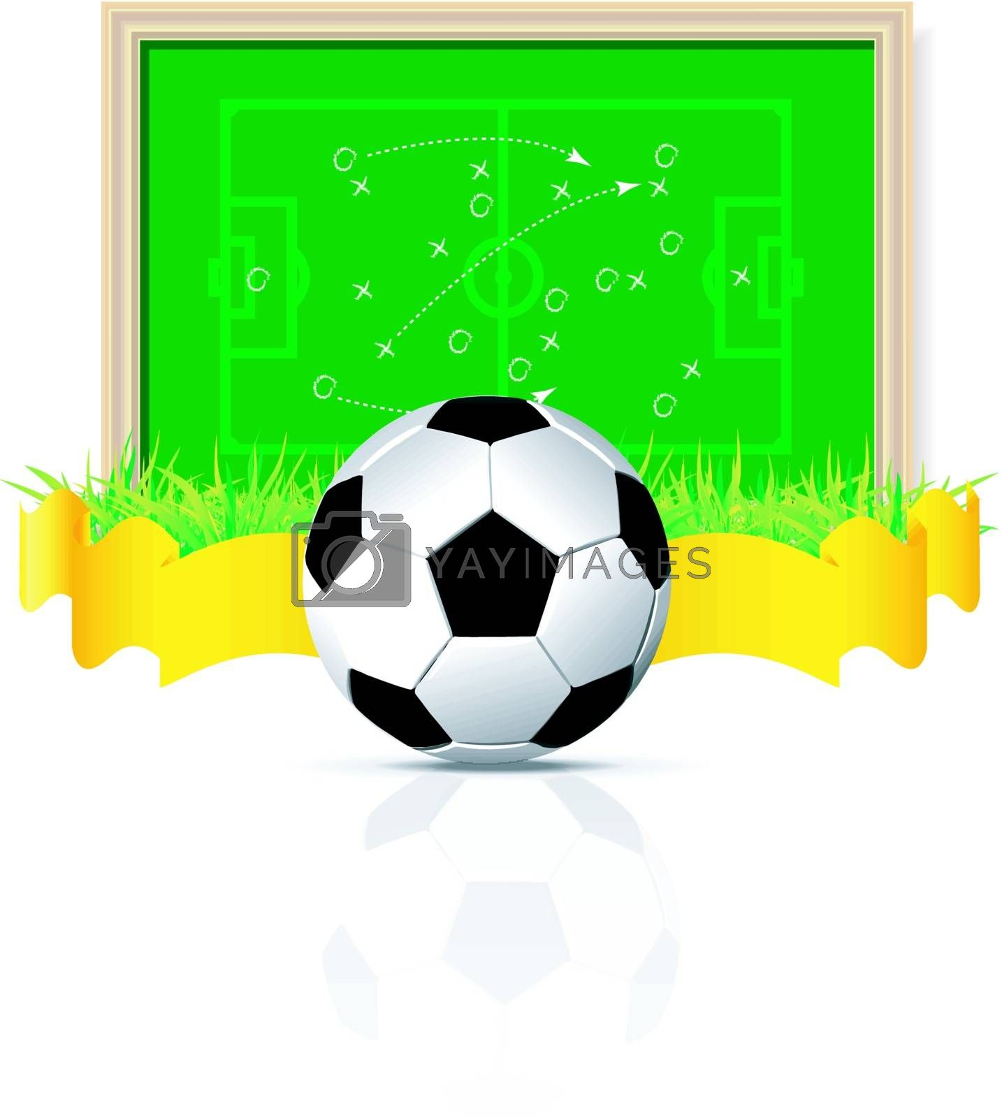 vector soccer ball with board and grass on white