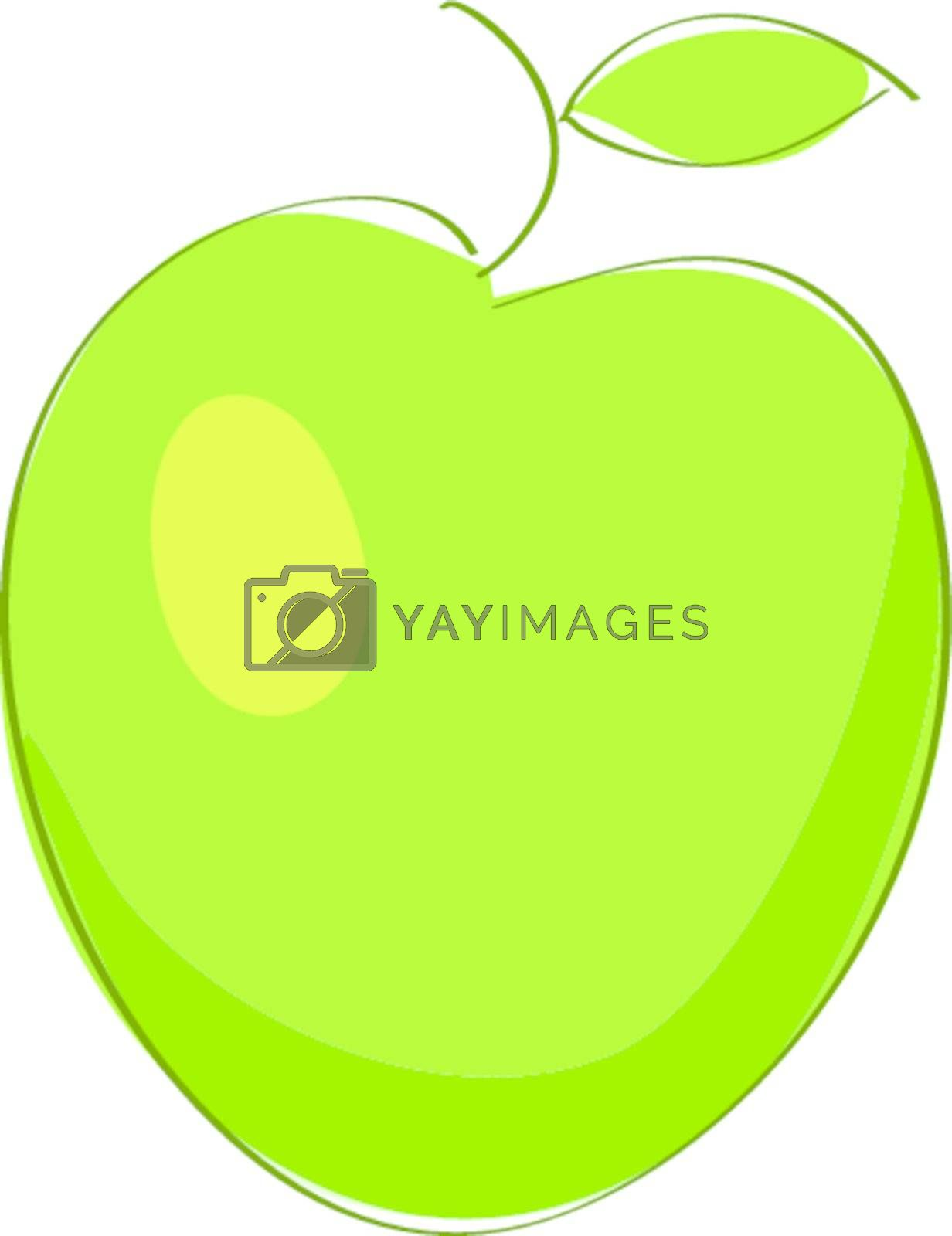 Illustration insulated object green apple on white background