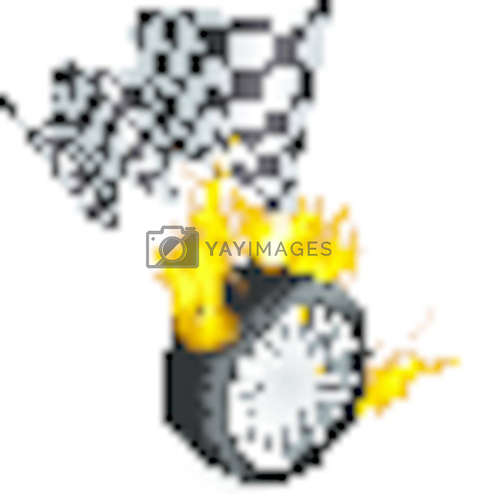 Sports Race Emblems - Tire with checkered flag