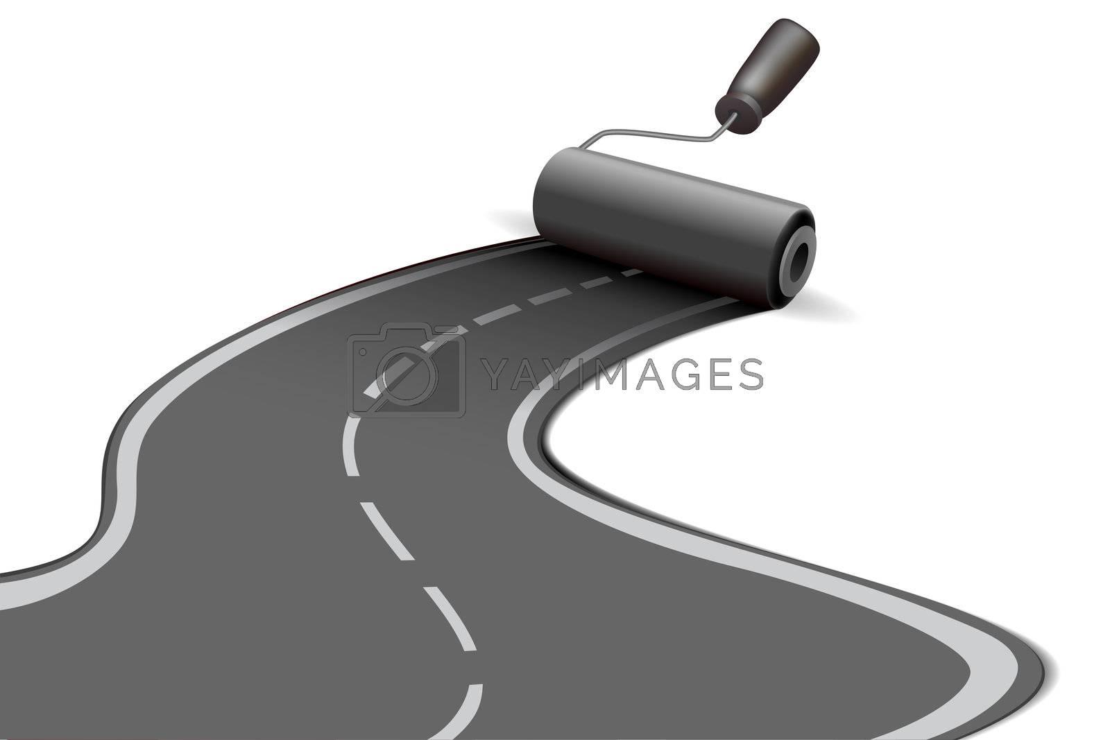 illustration of road roller on white background