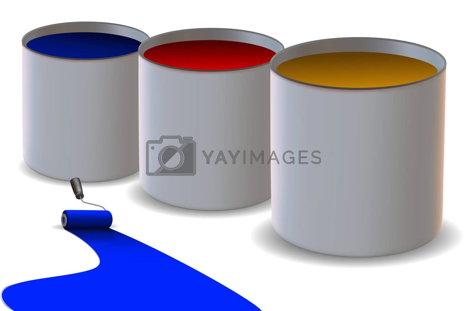 illustration of colorful paint rollers on white background