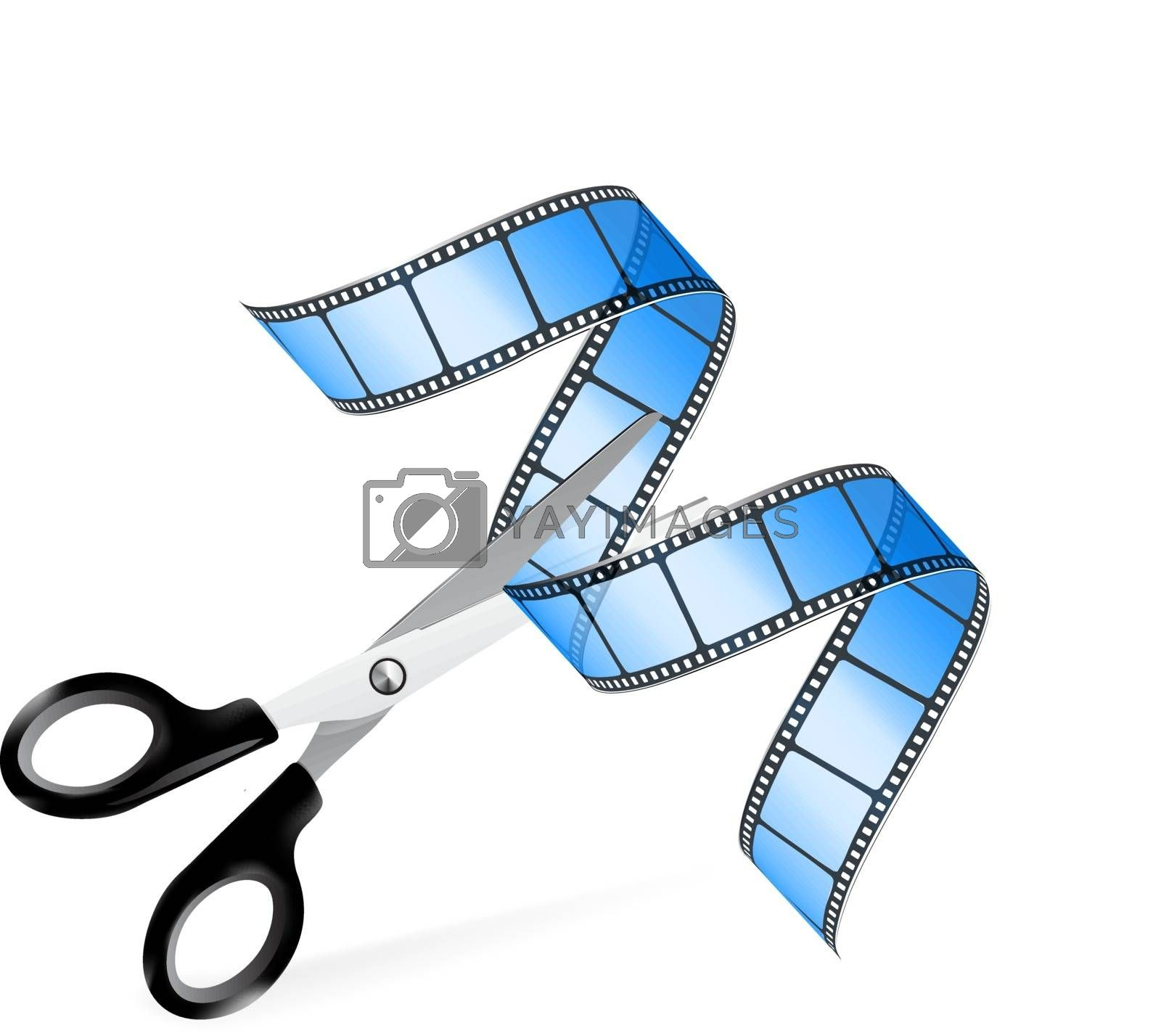 Scissors and film strip as video editing concept on white