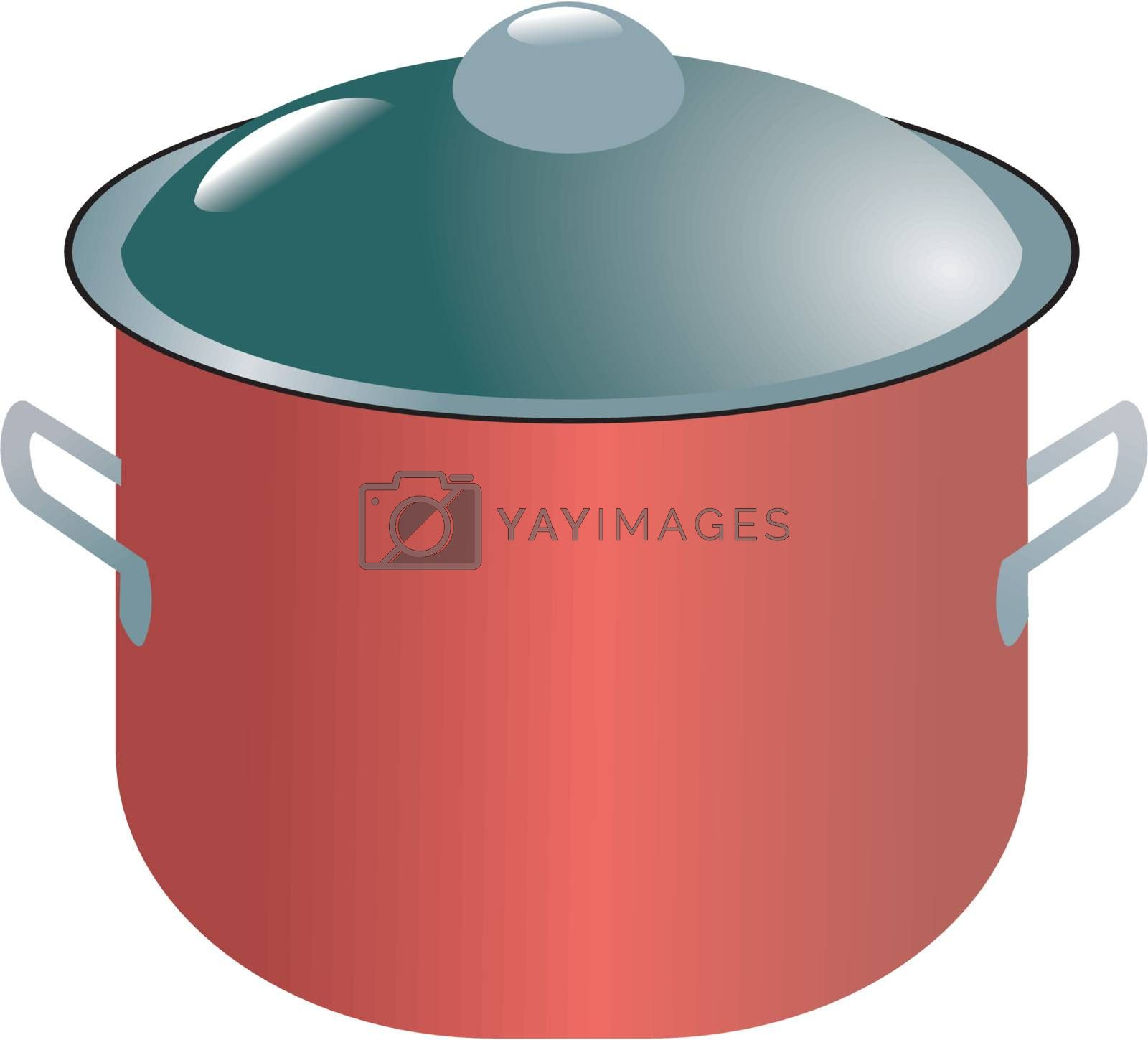Illustration of modern saucepan on white background