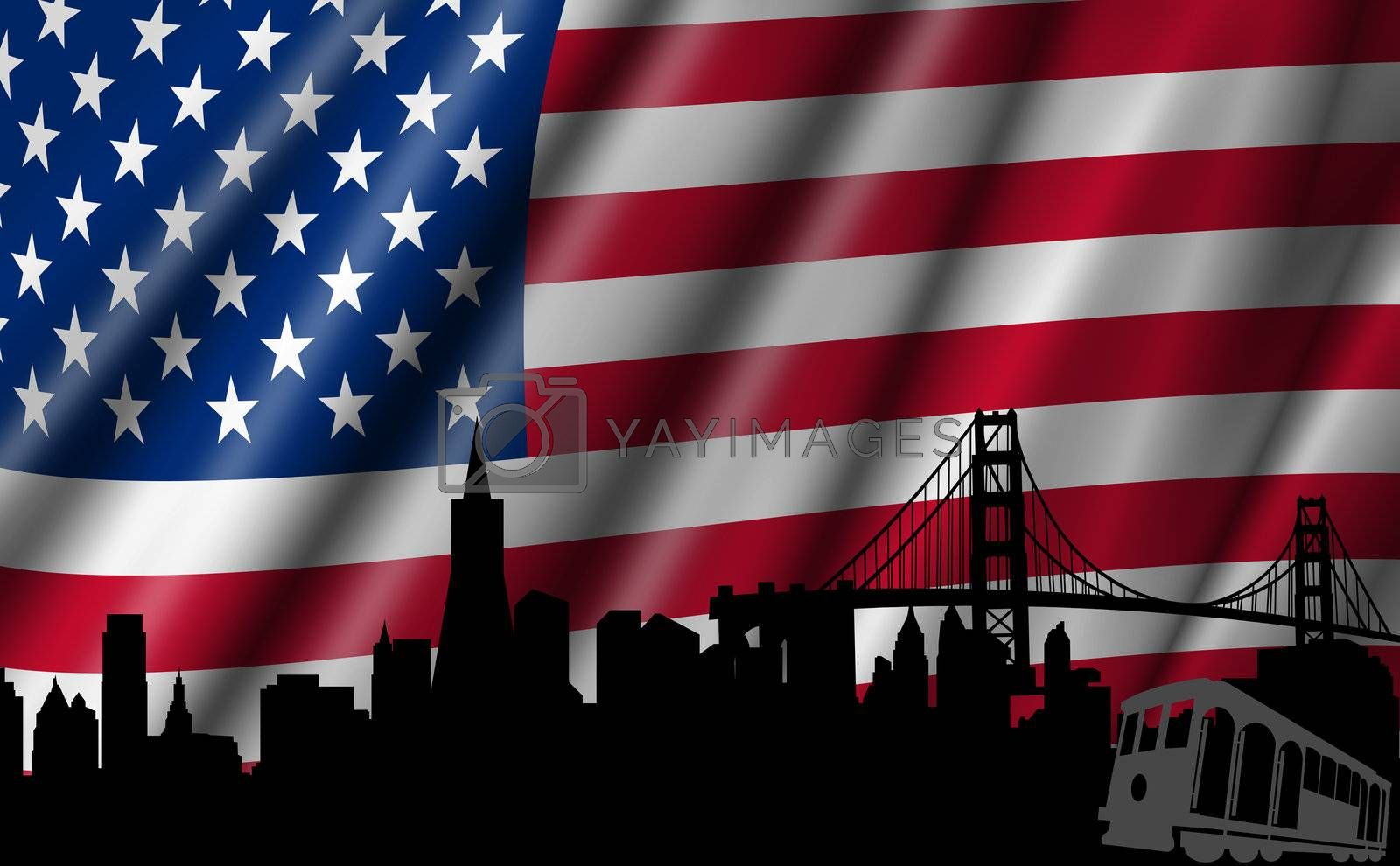 USA American Flag with Golden Gate Bridge San Francisco Skyline Silhouette Illustration