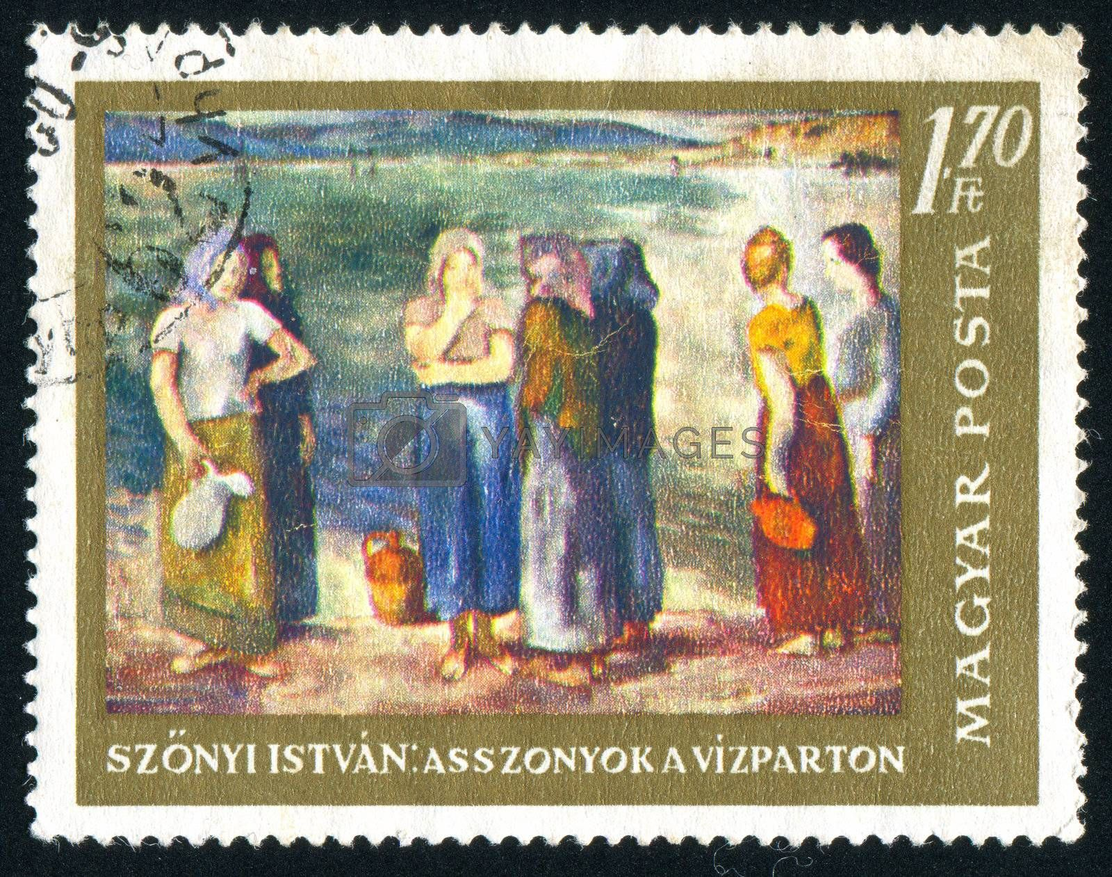 HUNGARY - CIRCA 1967: stamp printed by Hungary, shows Women at the River Bank by Istvan Szonyi, circa 1967