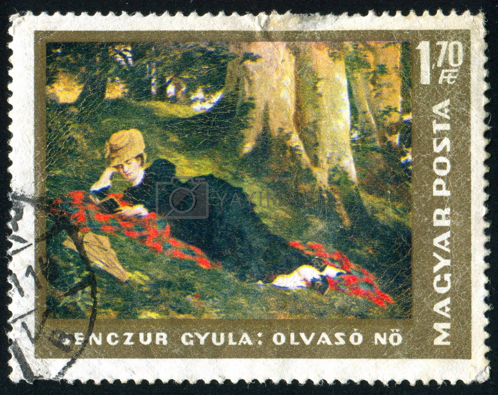 HUNGARY - CIRCA 1966: stamp printed by Hungary, shows Reading Woman by Gyula Benczur, circa 1966