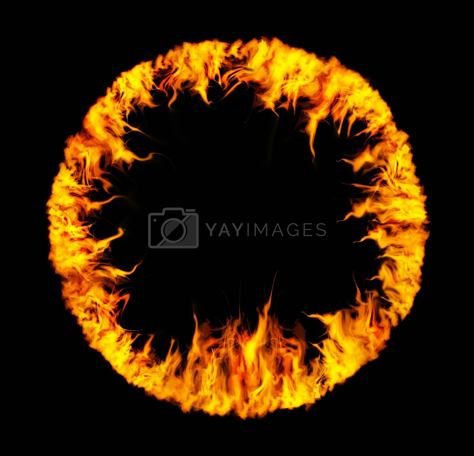 Ring of wavig fire on black background