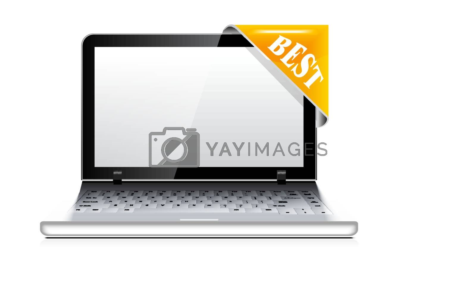 Vector laptop with sticker (corner ribbon) on white