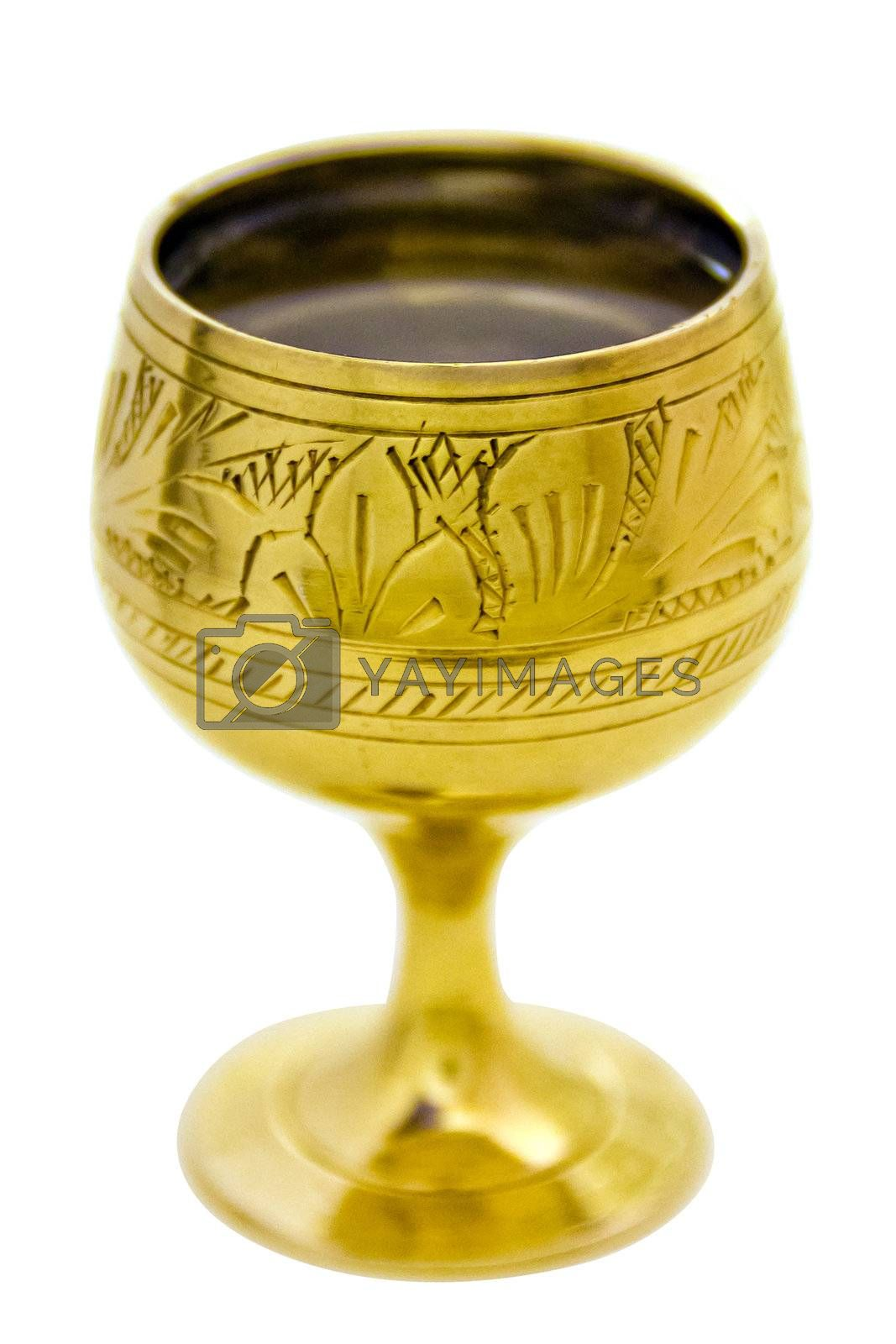 the dishy wine-glass with alcohol