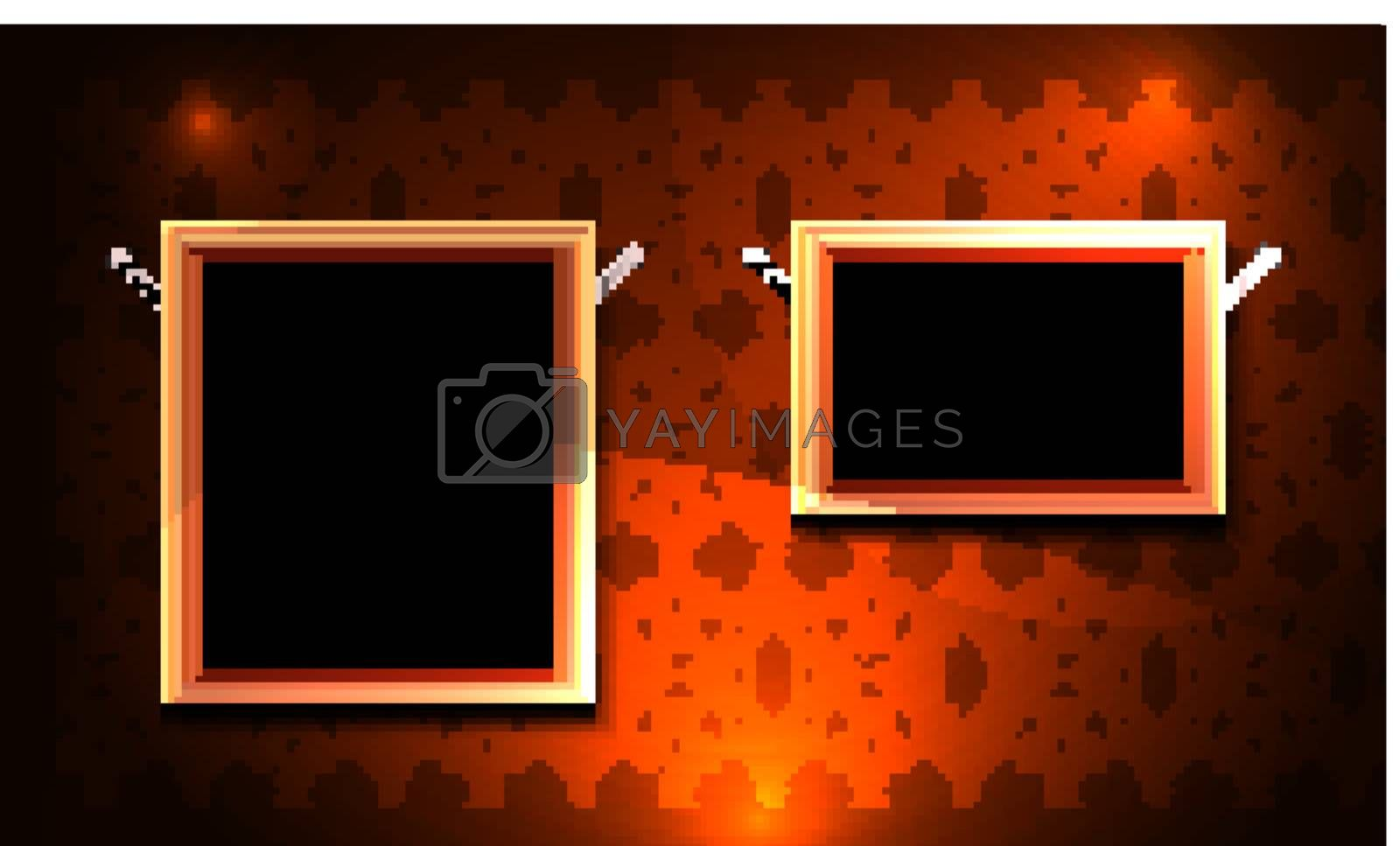 Picture frame gallery with vintage background. In Swatch Panel - seamless sample