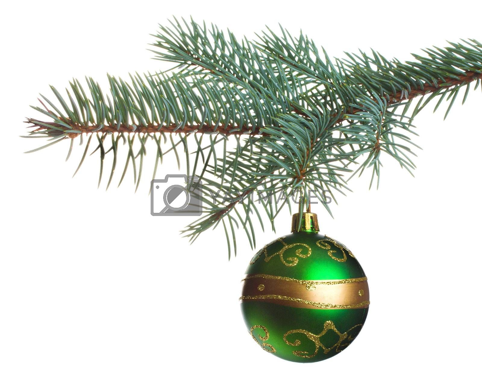close-up christmas tree decoration, isolated on white