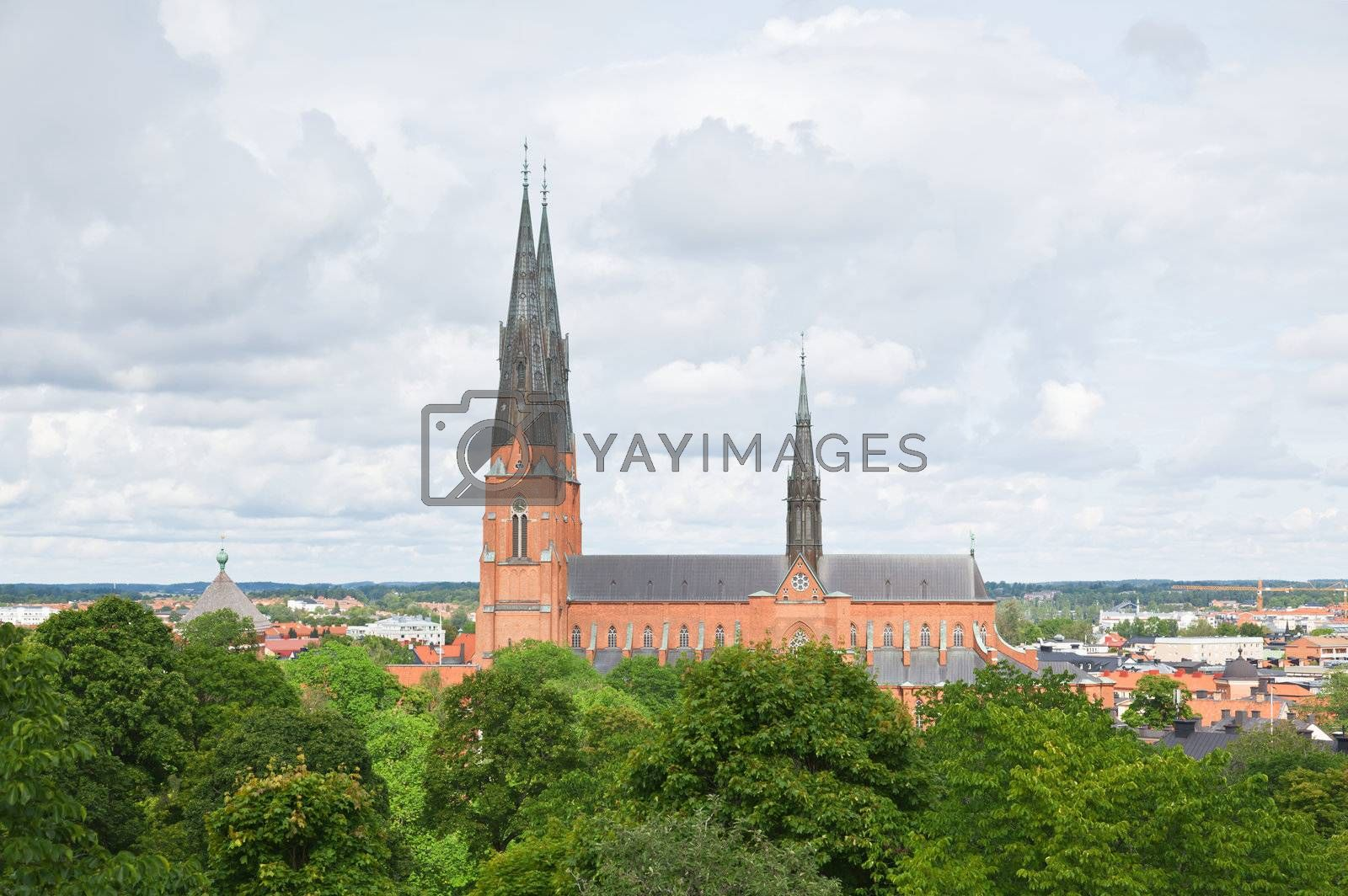 The famous Uppsala cathedral in Uppsala Sweden