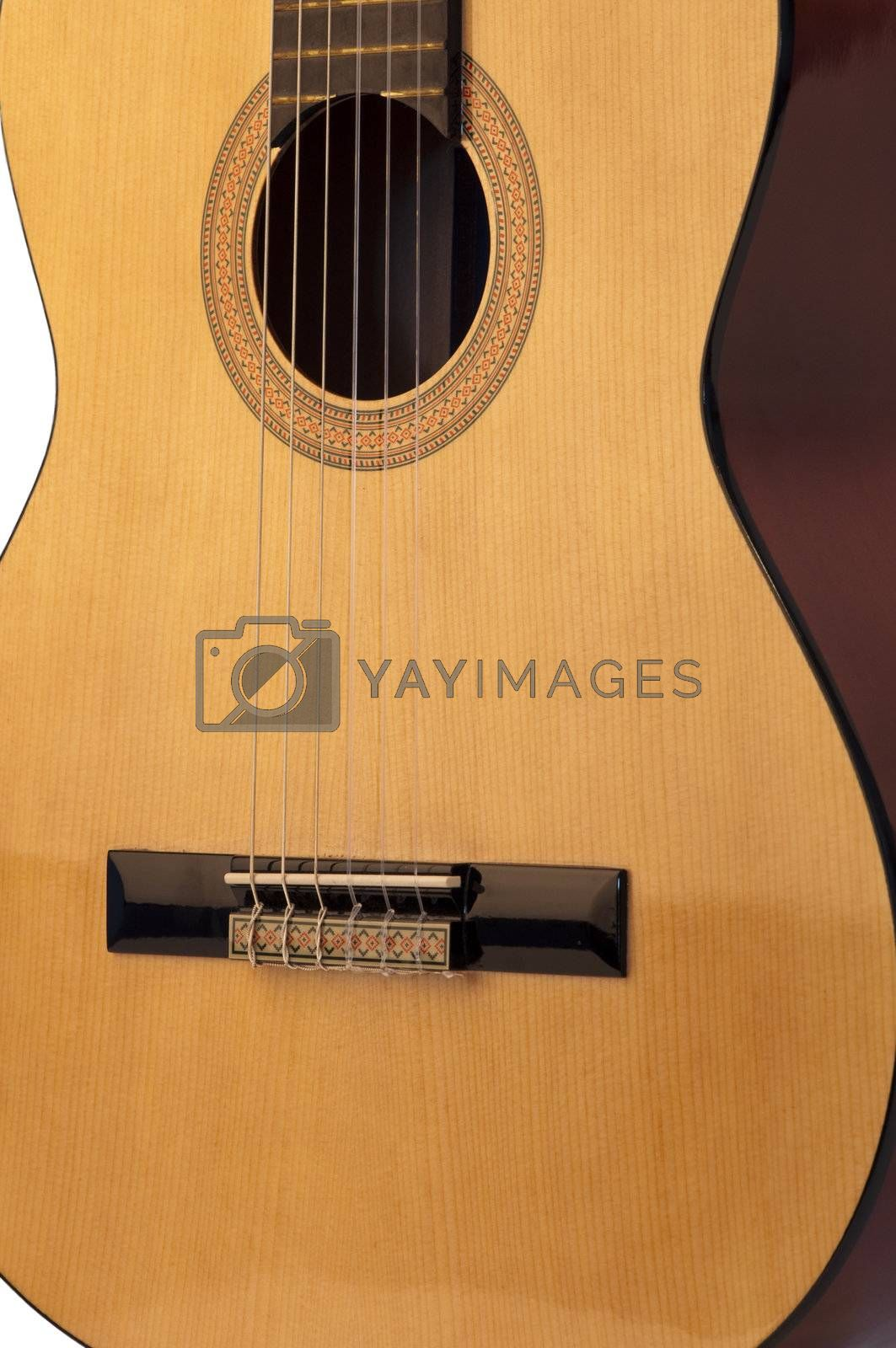 High resolution image.  Classical acoustic guitar, isolated on white background.