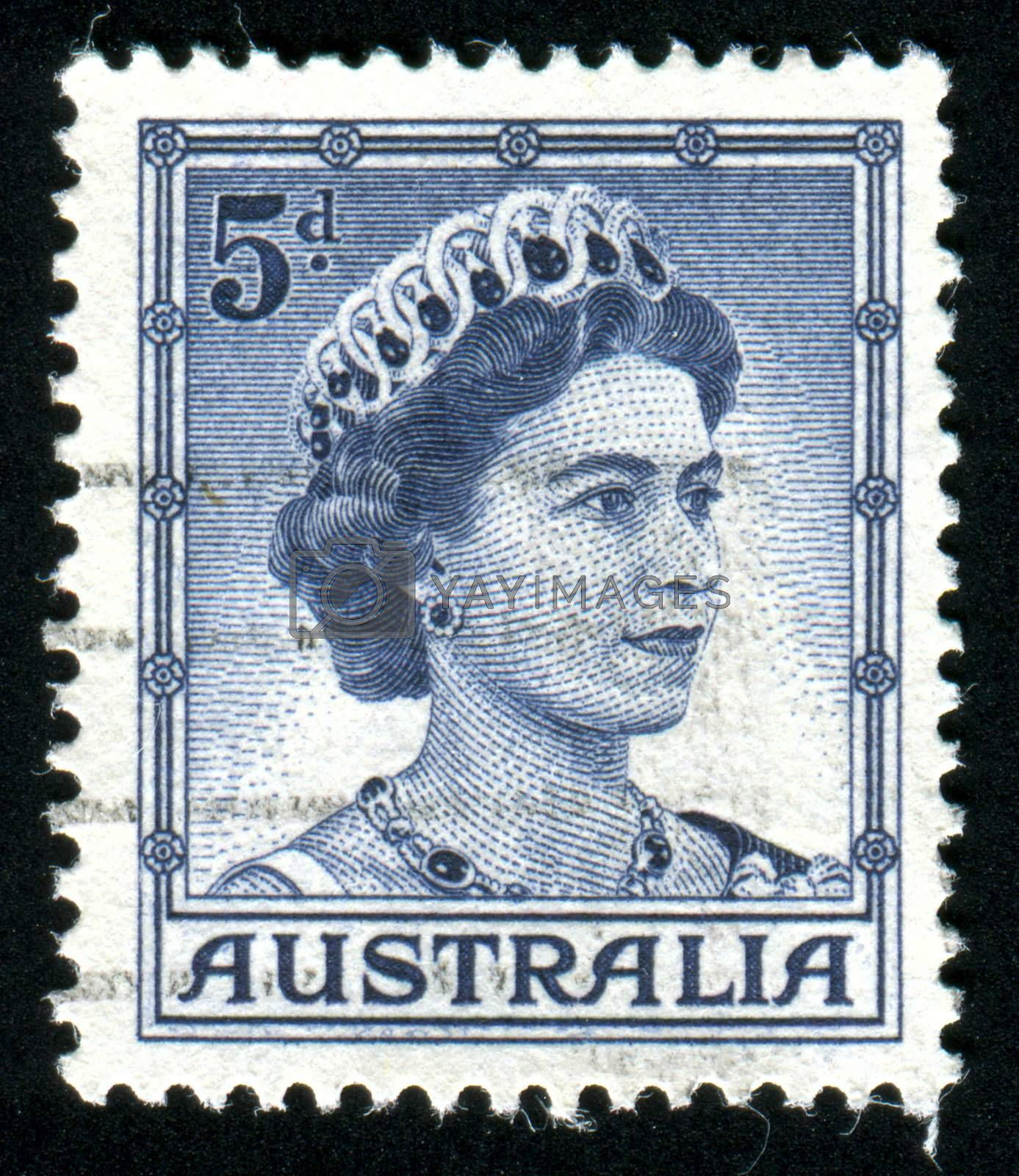 AUSTRALIA - CIRCA 1958: stamp printed by Australia, shows Queen Elizabeth II, circa 1958
