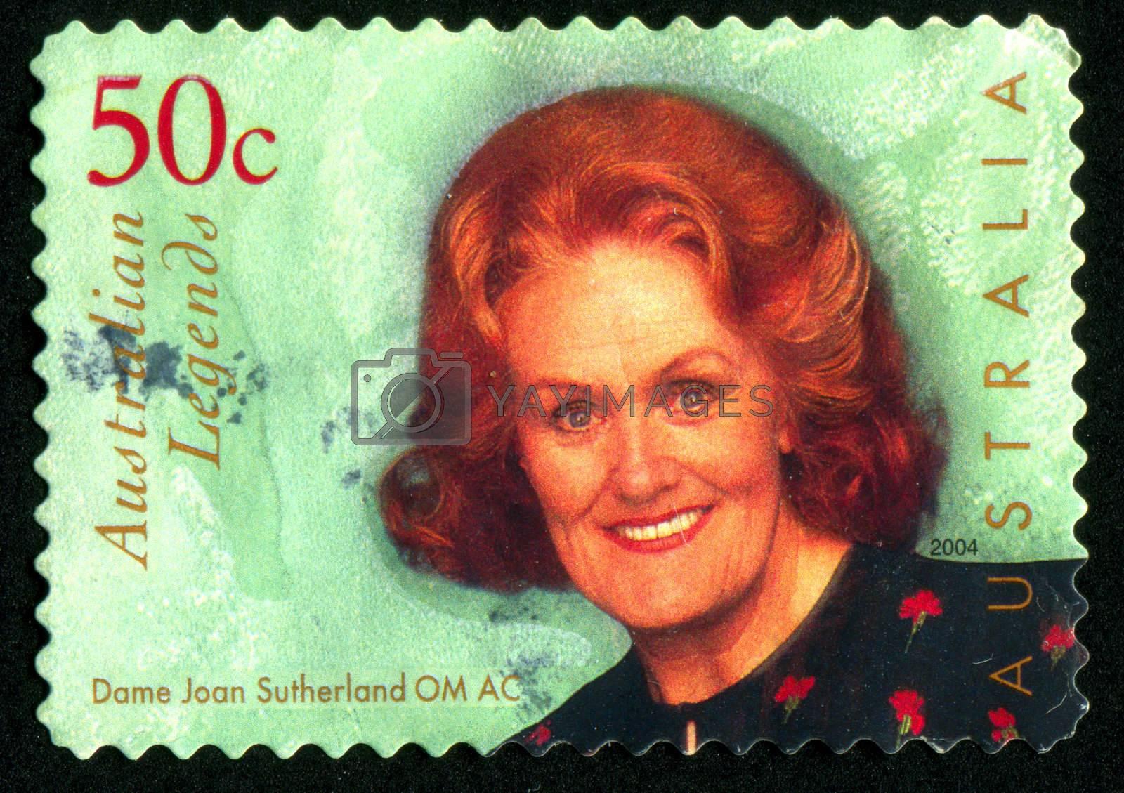 AUSTRALIA - CIRCA 2004: stamp printed by Australia, shows Dame Joan Sutherland, opera singer, circa 2004