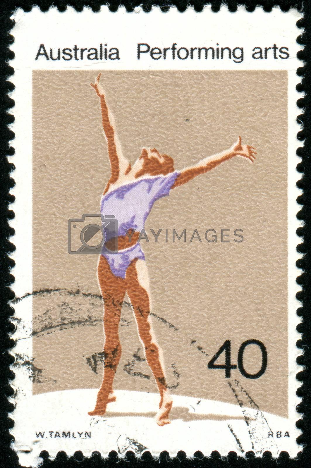 AUSTRALIA - CIRCA 1976: stamp printed by Australia, shows gymnast, circa 1976