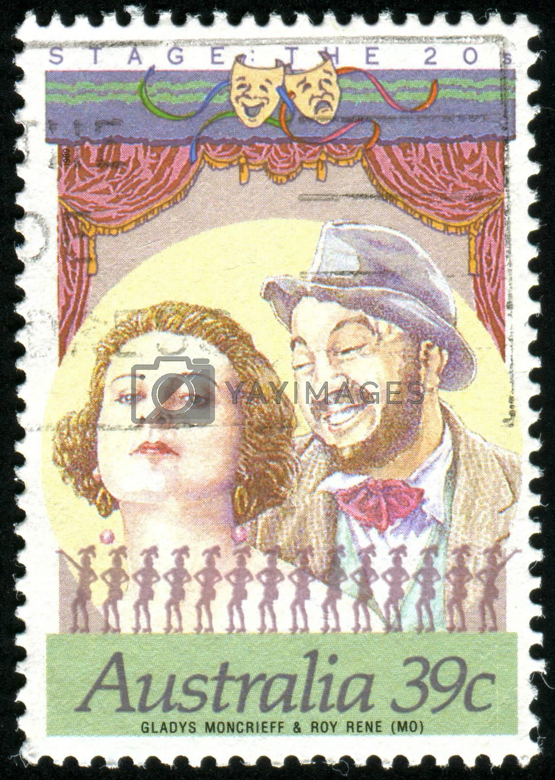 AUSTRALIA - CIRCA 1989: stamp printed by Australia, shows Gladys Mon crieff and Roy Rene, circa 1989