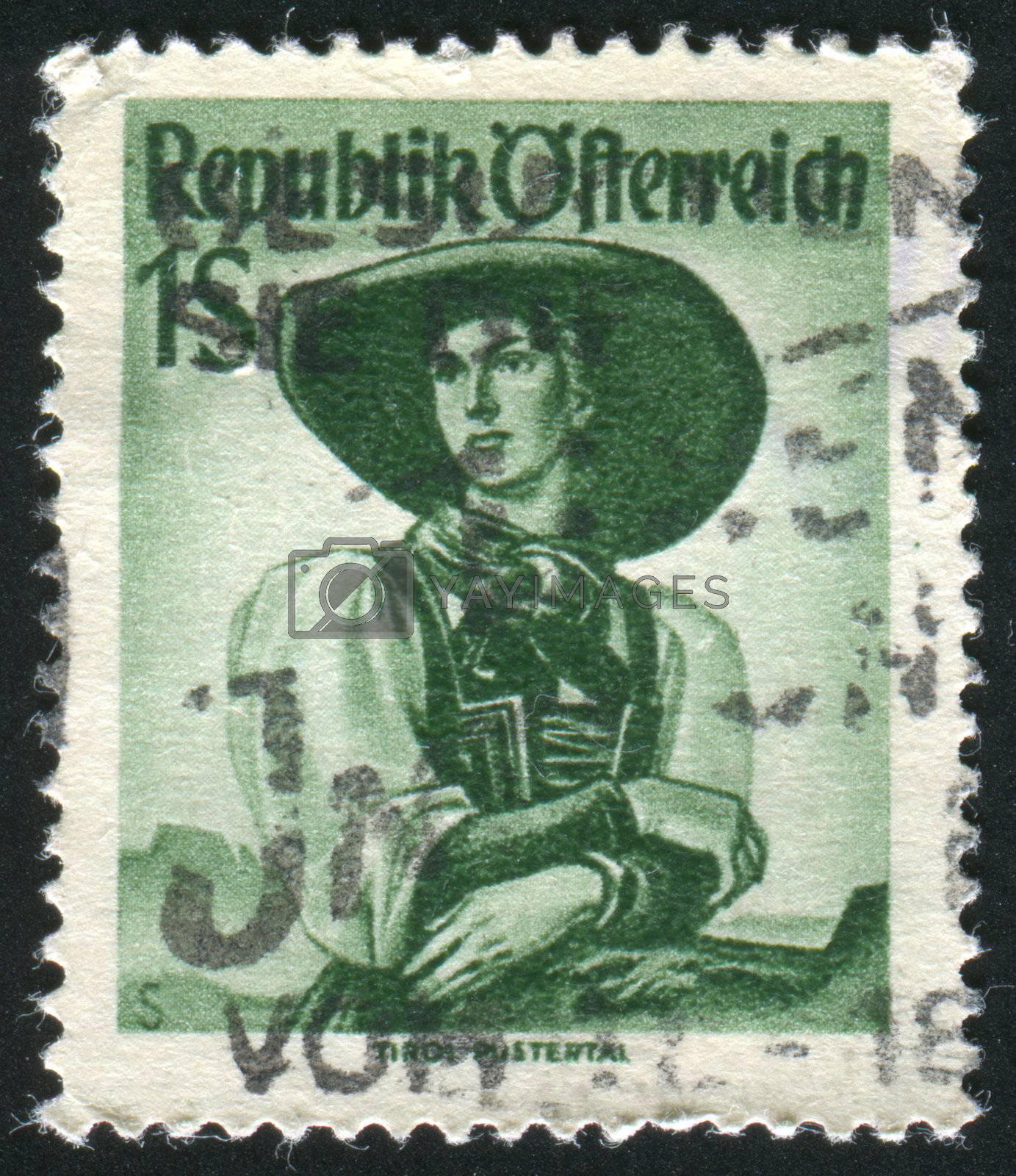 AUSTRIA - CIRCA 1948: stamp printed by Austria, shows Austrian Costumes, Tyrol, Puster Valley, circa 1948