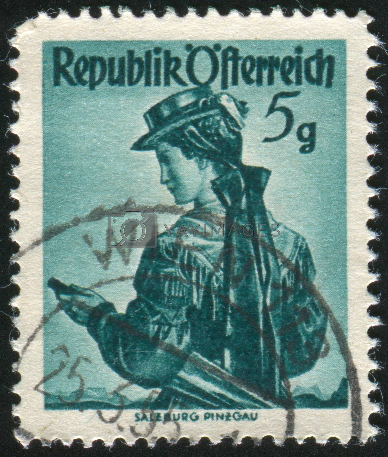 AUSTRIA - CIRCA 1948: stamp printed by Austria, shows Austrian Costumes, Salzburg, Pinzgau, circa 1948