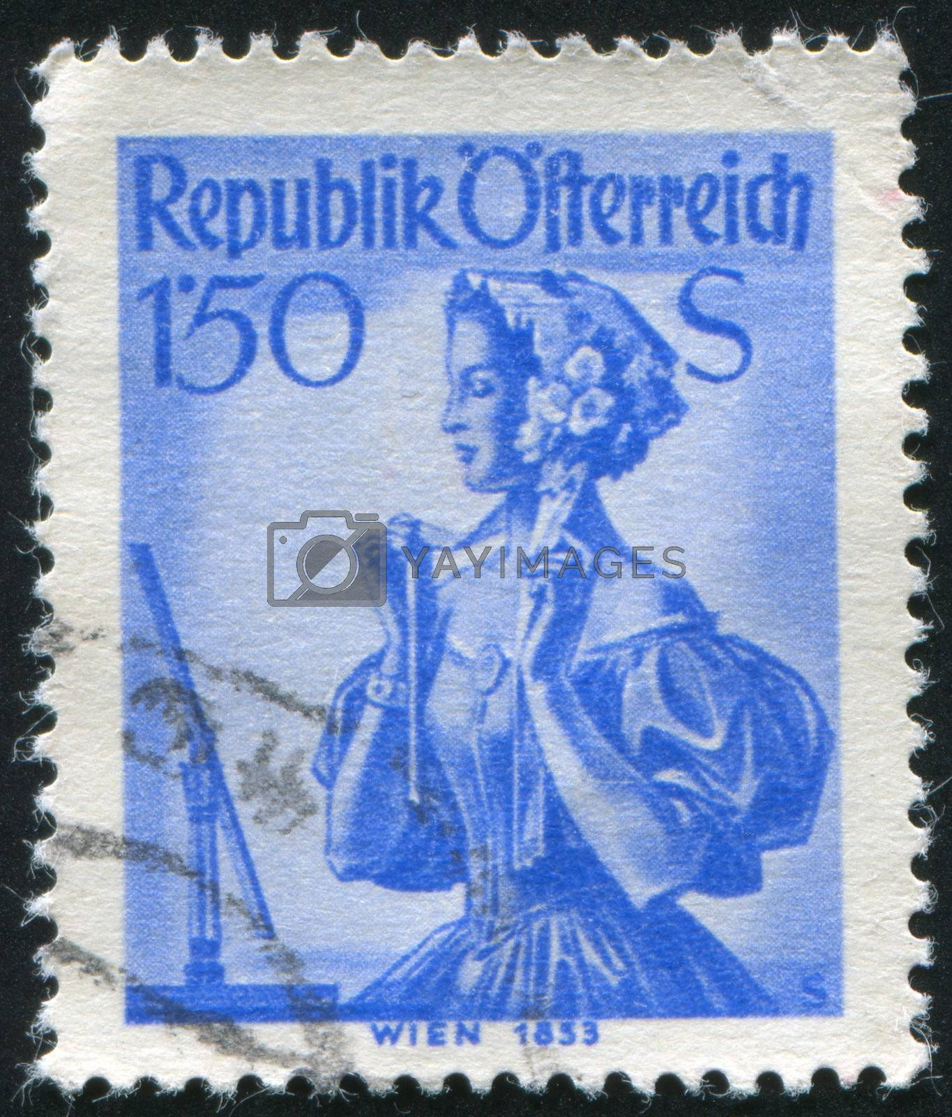 AUSTRIA - CIRCA 1948: stamp printed by Austria, shows Austrian Costumes, Vienna, circa 1948