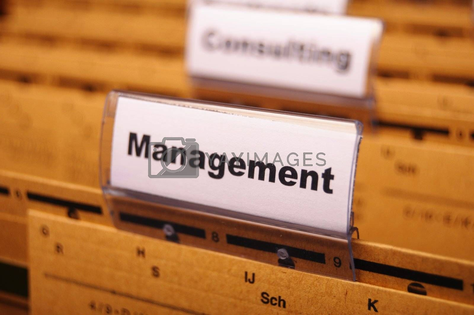 management word on business office folder showing leadership concept