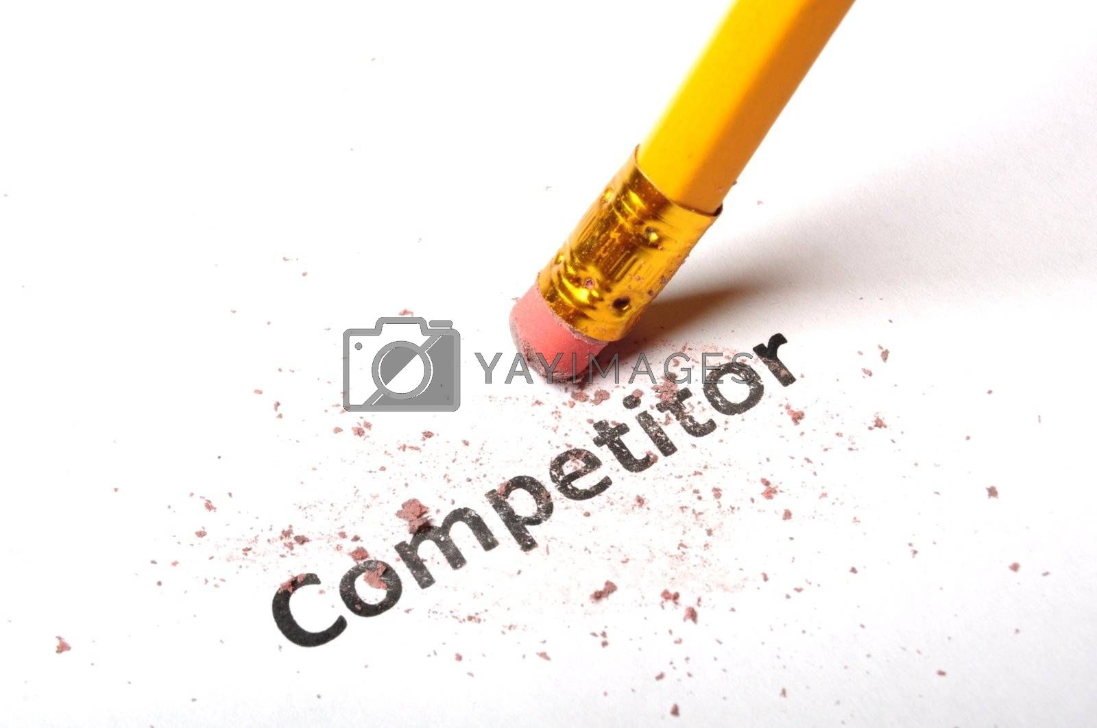 competition word and eraser on white showing business strategy concept